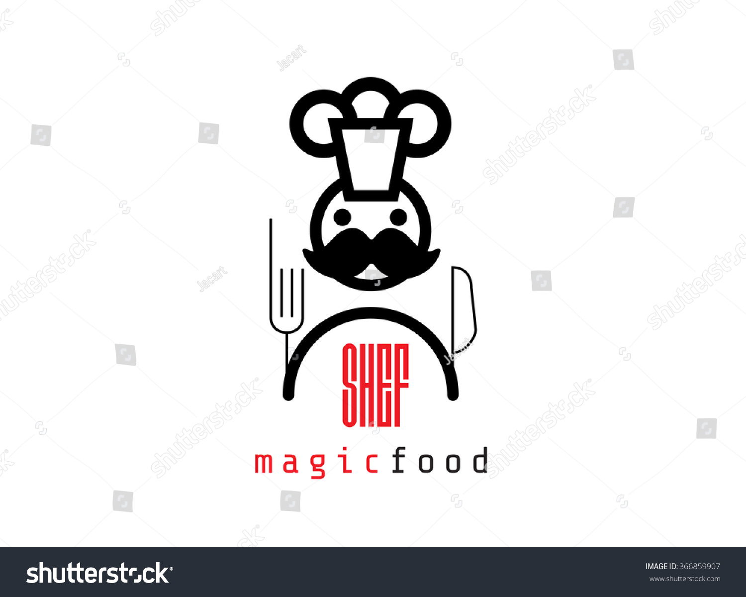Selection of cartoons on cooking kitchens food and eating - Abstract Vector Chef Logo Chef Hat Chef Face And Smile Cafe Cooking