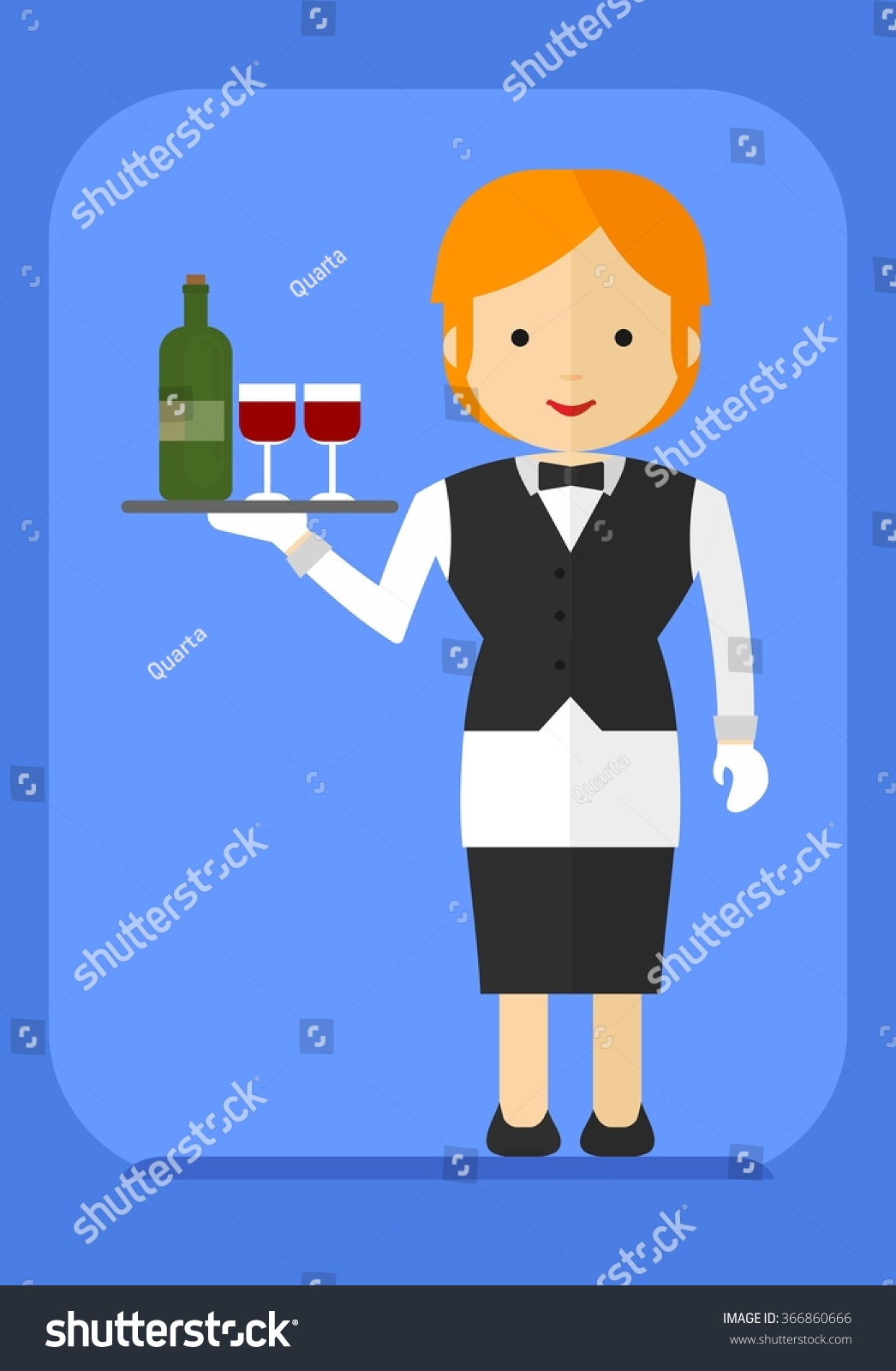 White apron food - Blonde Waitress In A Black Dress And A White Apron Carries Food Cartoon Flat Vector