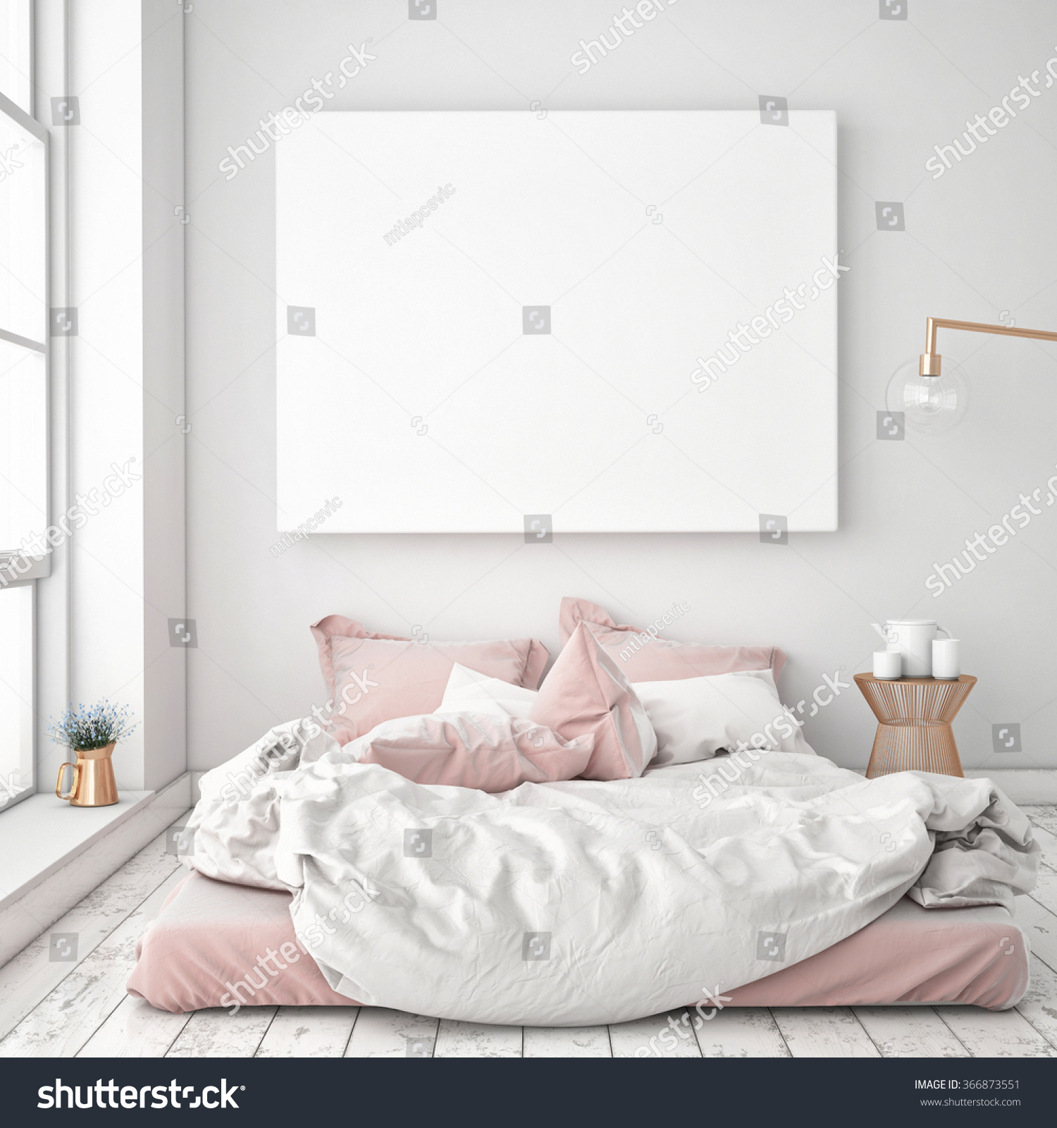 Of Bedroom Mock Blank Poster On Wall Bedroom Stock Illustration 366873551