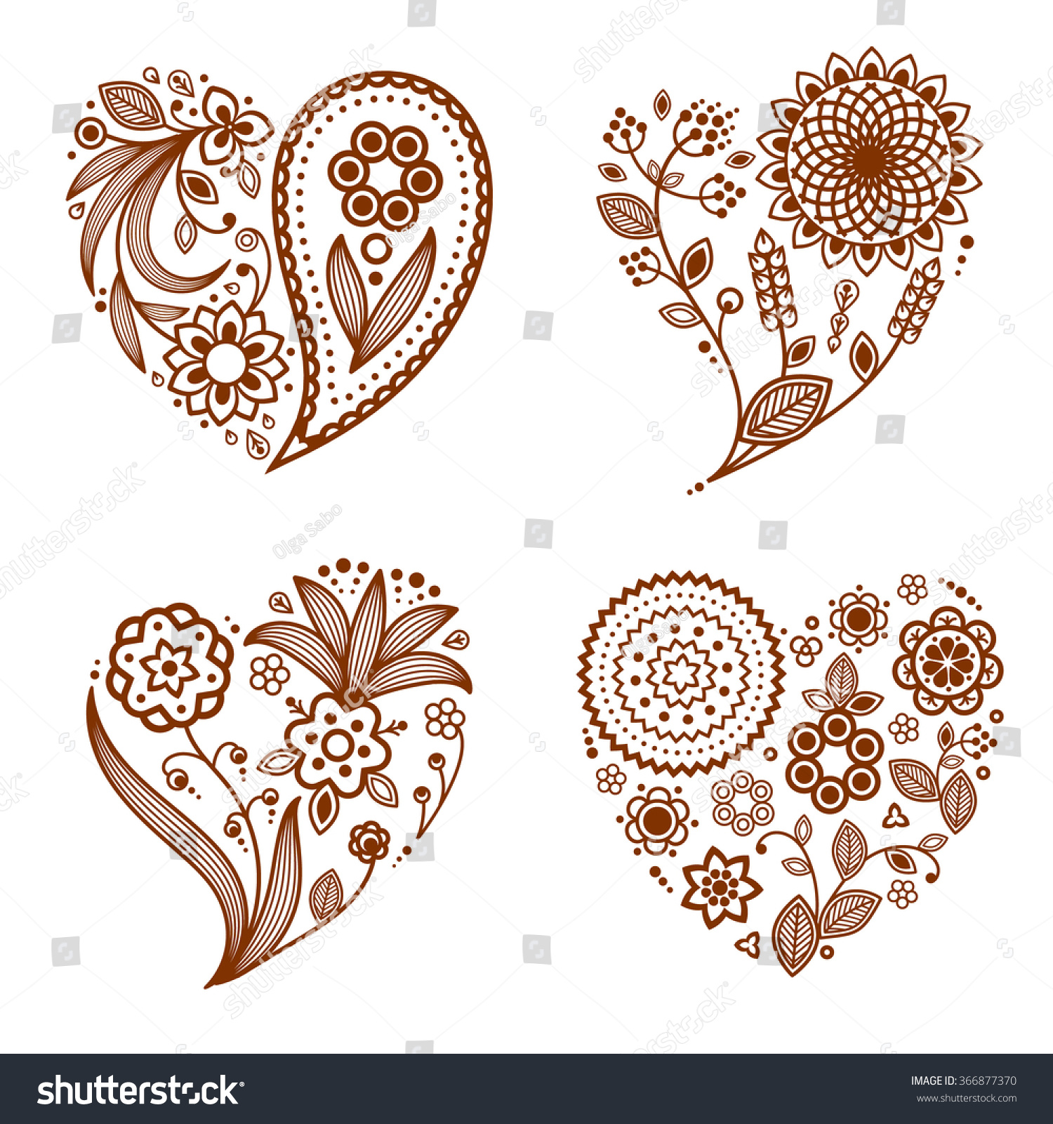 Heart Henna Tattoos: Henna Tattoo Ornamental Hearts Mehndi Style Four Stock