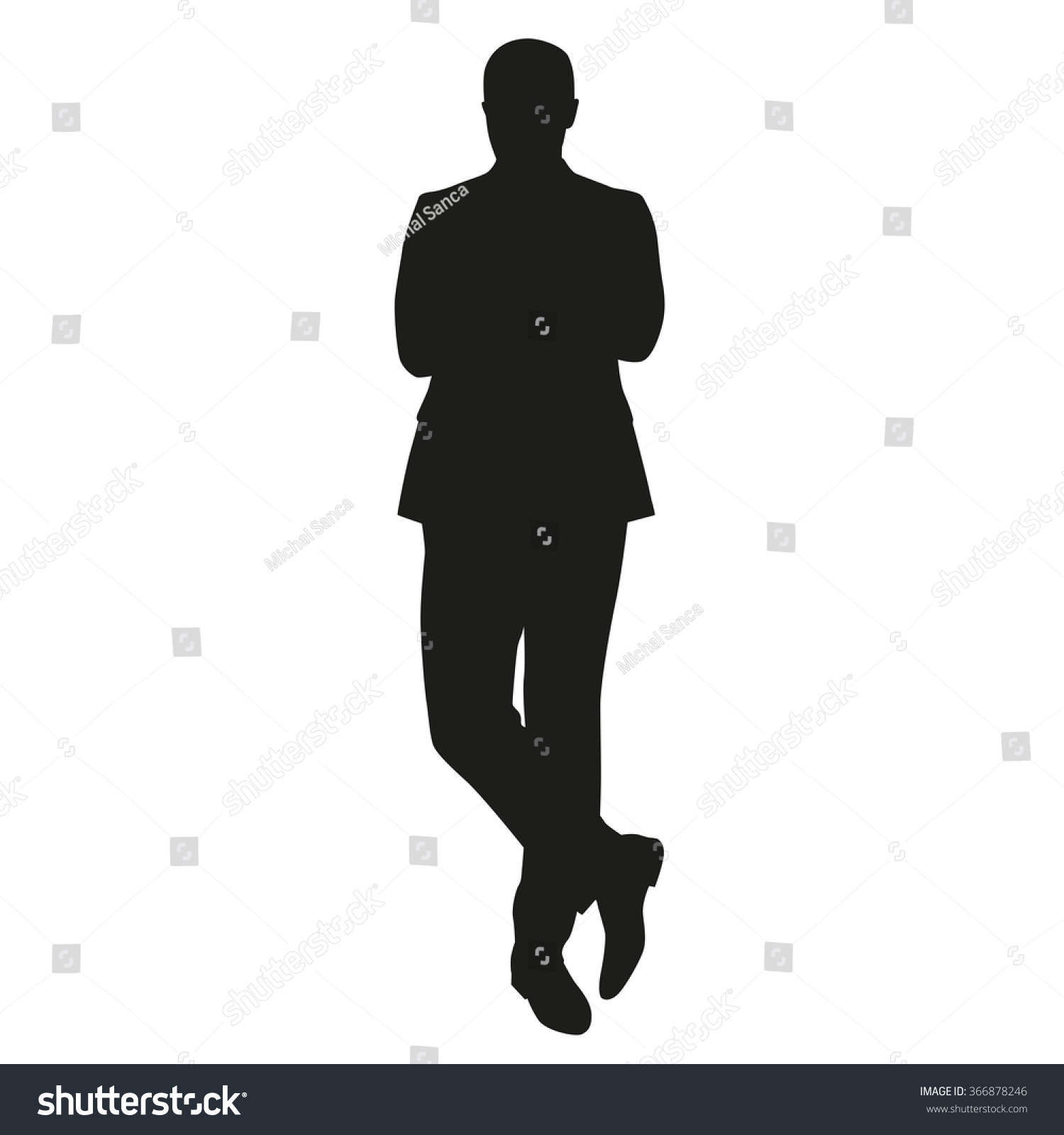 Business Man Silhouette. Standing Man In Suit Stock Vector