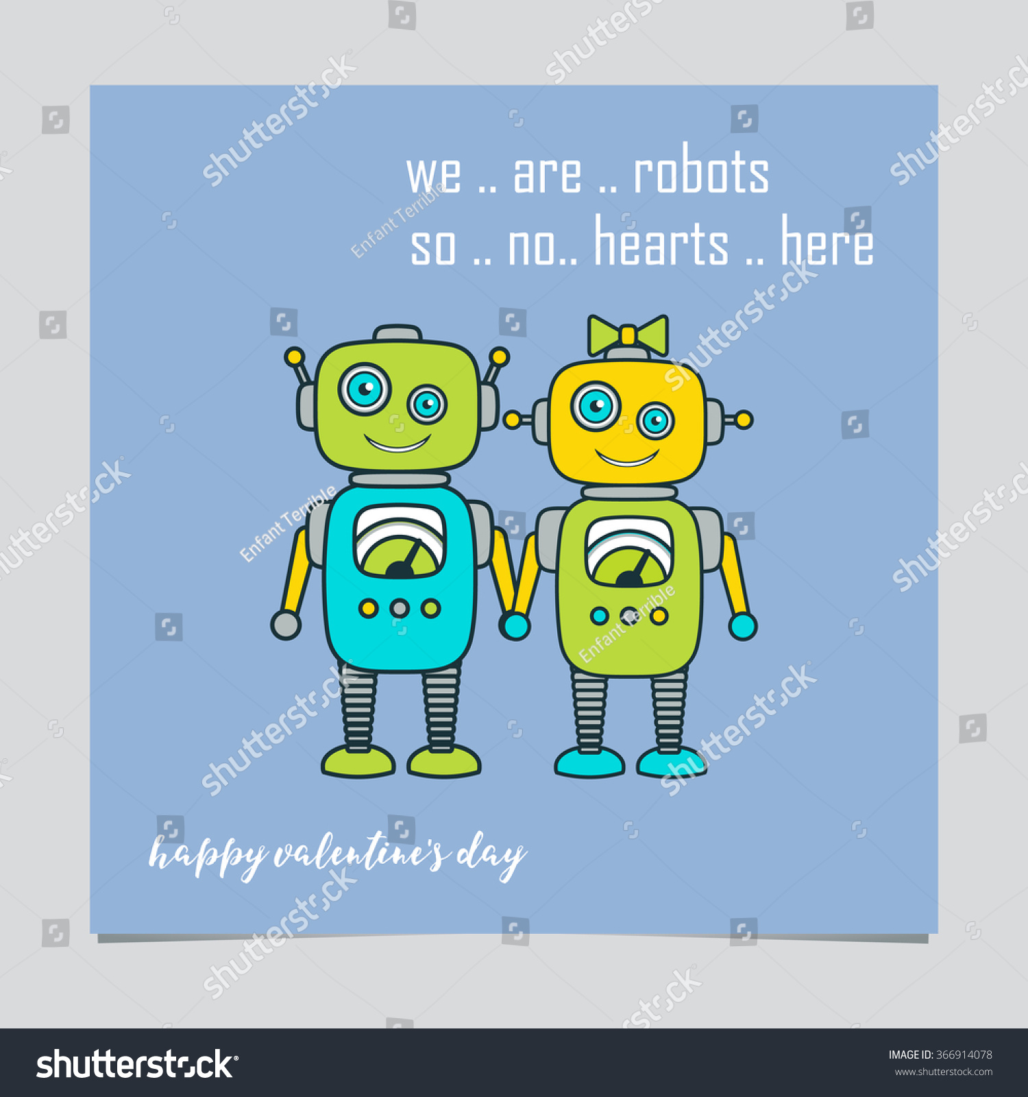 Happy valentines day greeting card design stock vector 366914078 happy valentines day greeting card design template with cute boy girl robot cartoon characters kristyandbryce Gallery