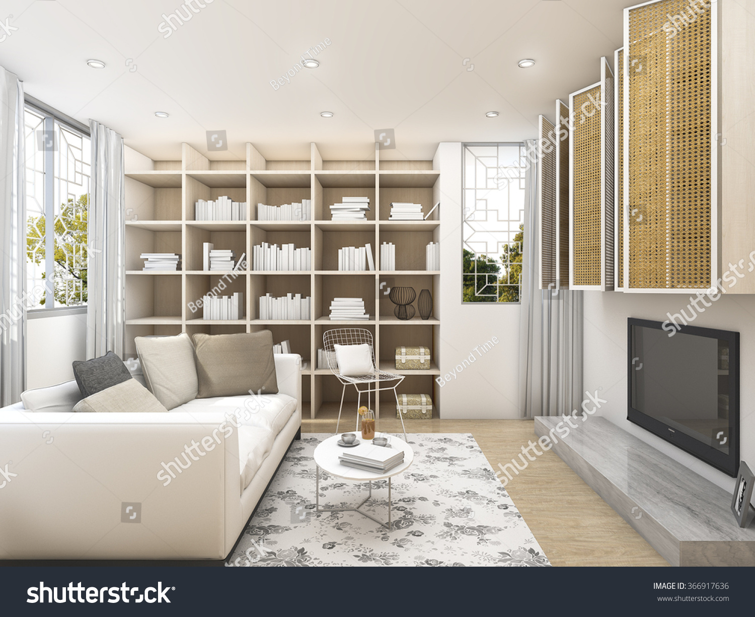 3d Rendering Clean Living Room White Stock Illustration 366917636 ...