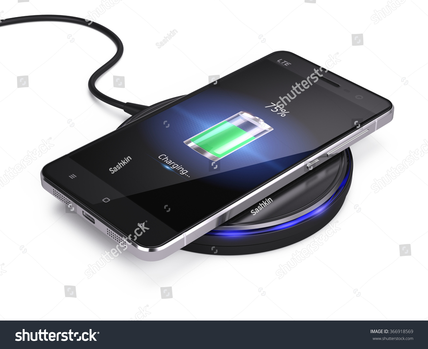 wireless charging smartphone isolated on white stock illustration 366918569 shutterstock. Black Bedroom Furniture Sets. Home Design Ideas