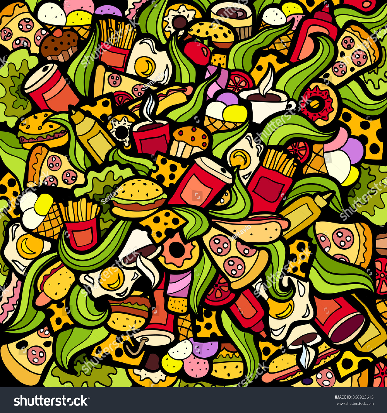 Colorful Bright Doodle Background Fastfood Theme Stock ...