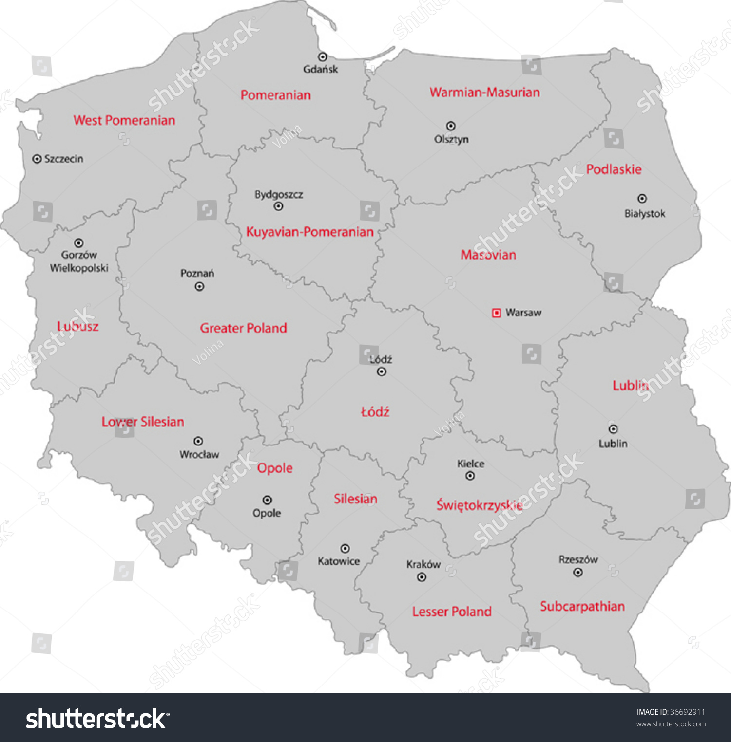 Map administrative divisions poland capital cities stock vector map of administrative divisions of poland with capital cities sciox Gallery