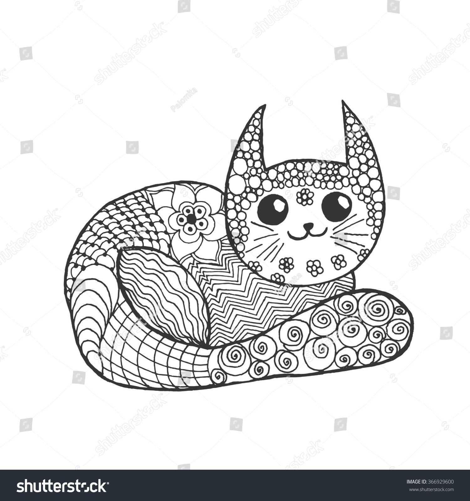 cute kitten black white hand drawn stock vector 366929600
