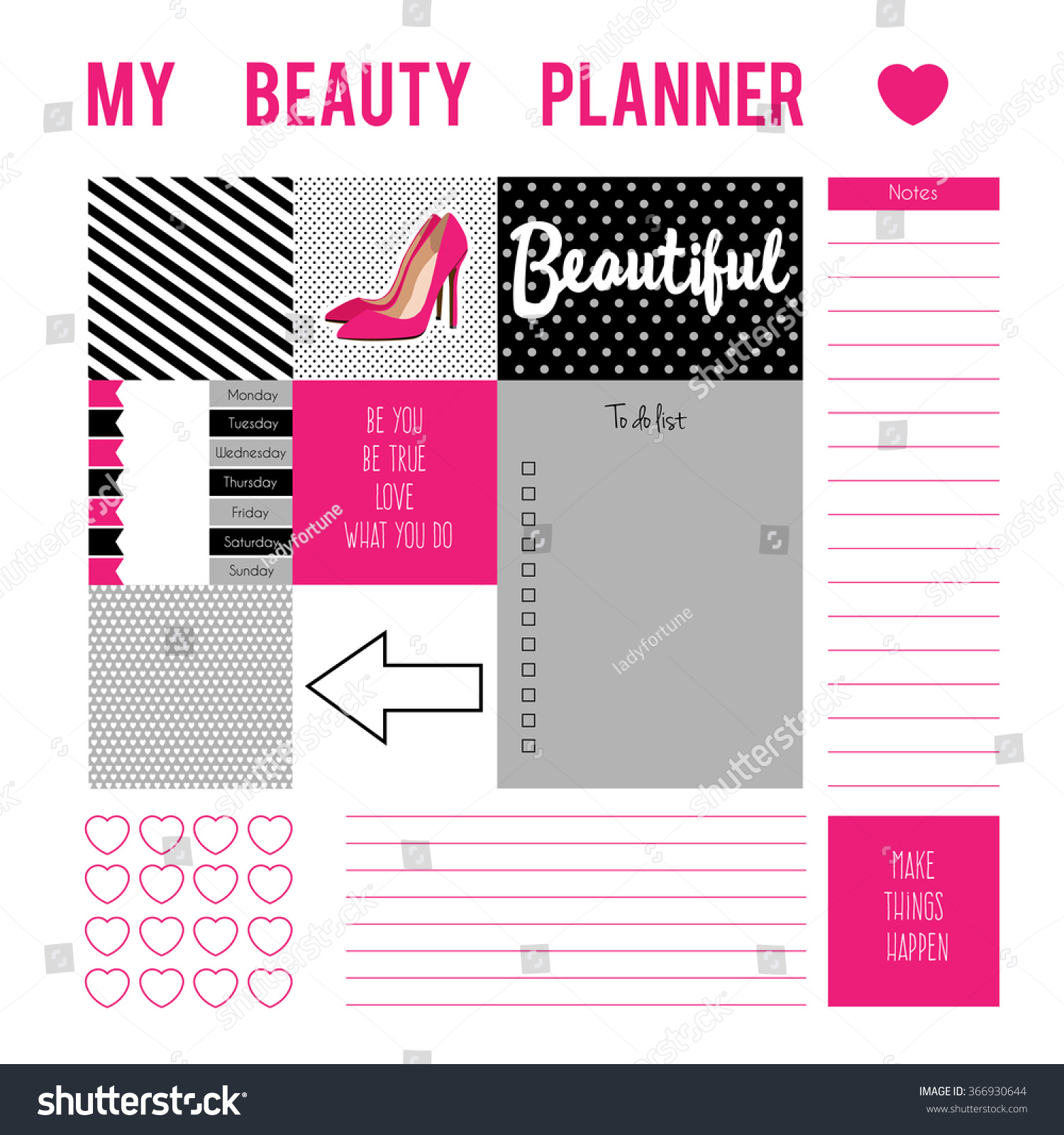 Planner page with stickers,printable files. Vector printable boxes ...