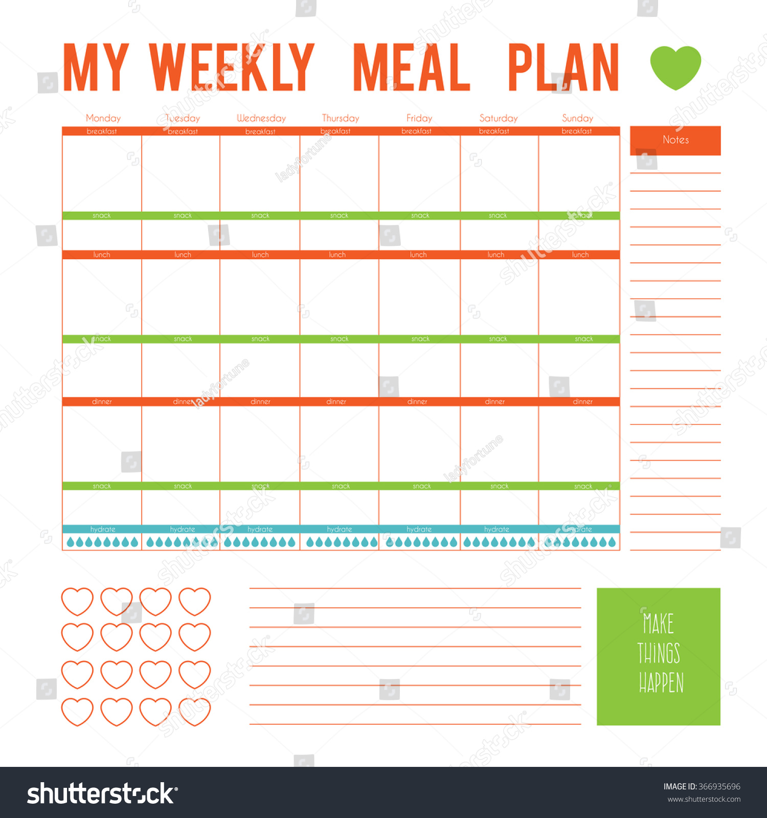 Meal Plan Weekcalendar Page Vector Printable Vector – Meal Calendar