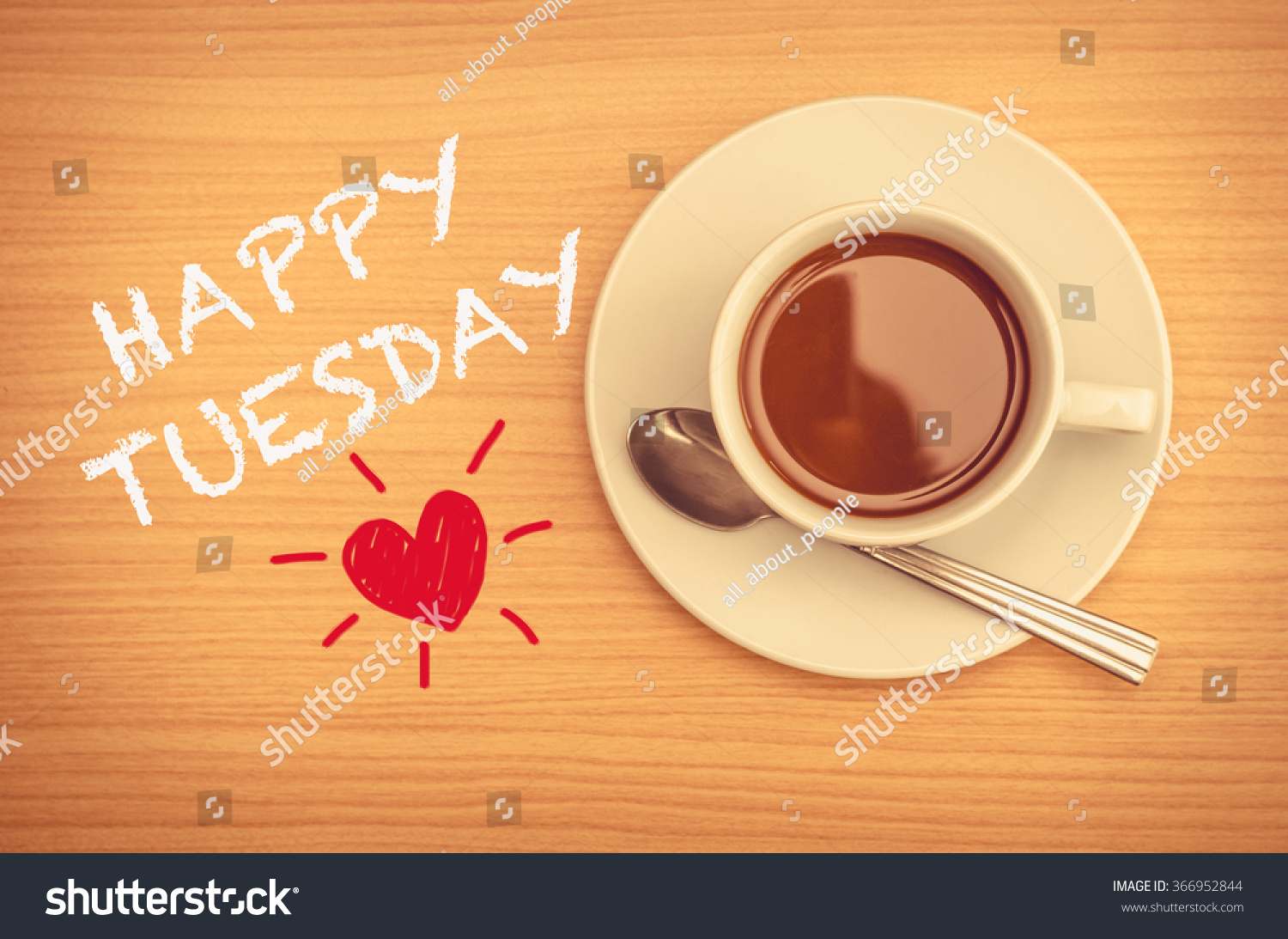 Happy Tuesday Coffee Cup On Table Stock Photo 366952844