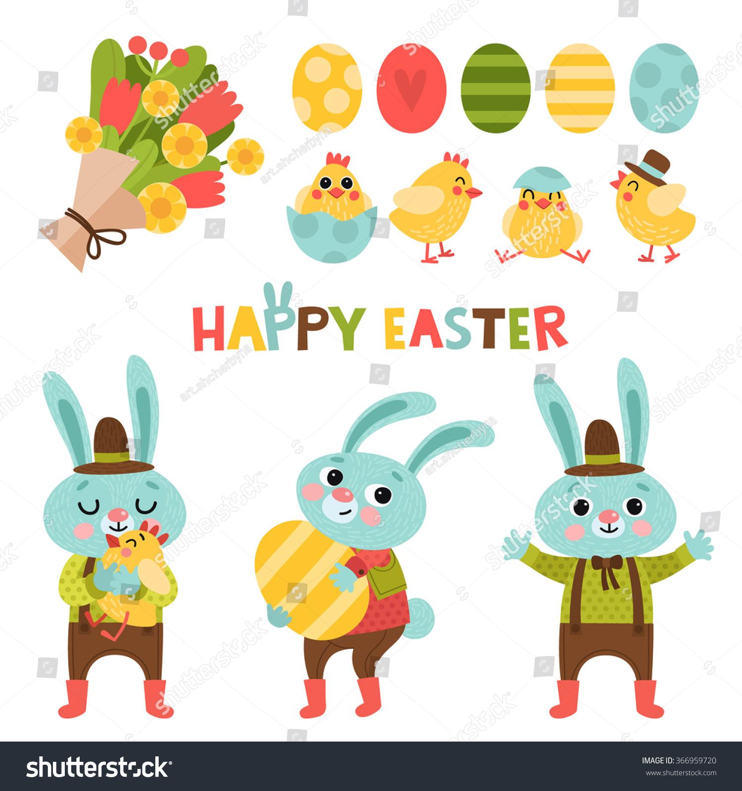 set cute cartoon easter bunny easter stock vector 366959720
