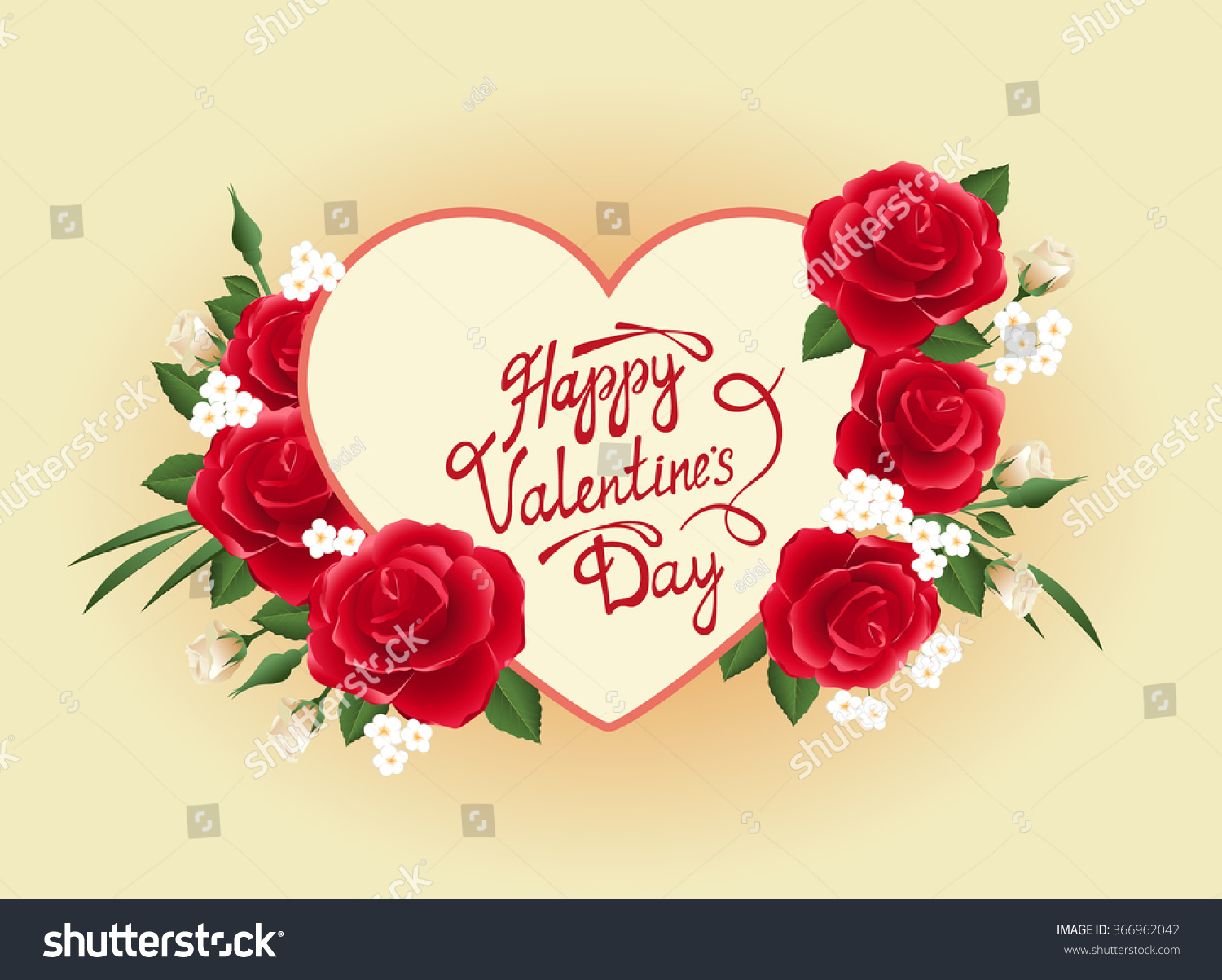 Valentines Day Vector Card Heart Flowers Stock Vector Royalty Free
