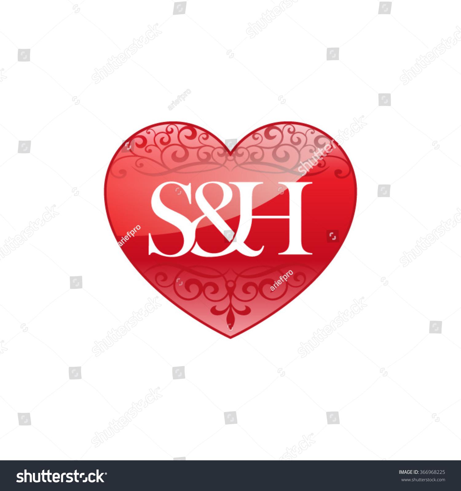 sh initial letter logo ornament heart stock vector. Black Bedroom Furniture Sets. Home Design Ideas