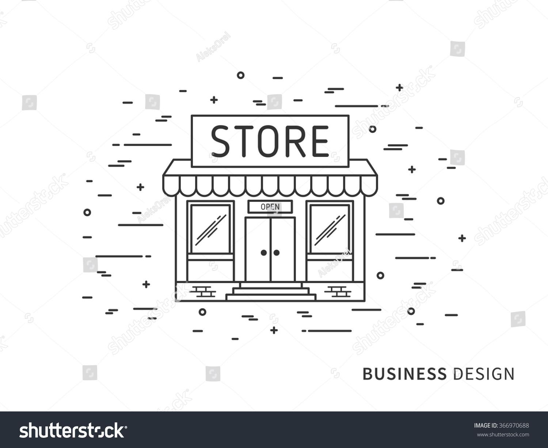 Linear flat exterior landscape design illustration stock for Exterior design elements