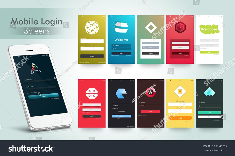 modern mobile login and welcome screens user interface kit. Black Bedroom Furniture Sets. Home Design Ideas