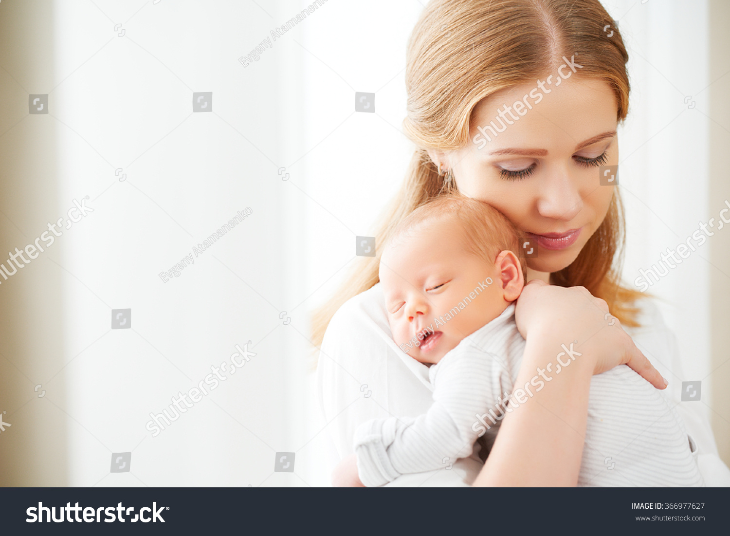 4af3aeedc Newborn Baby Tender Embrace Mother Window Stock Photo (Edit Now ...