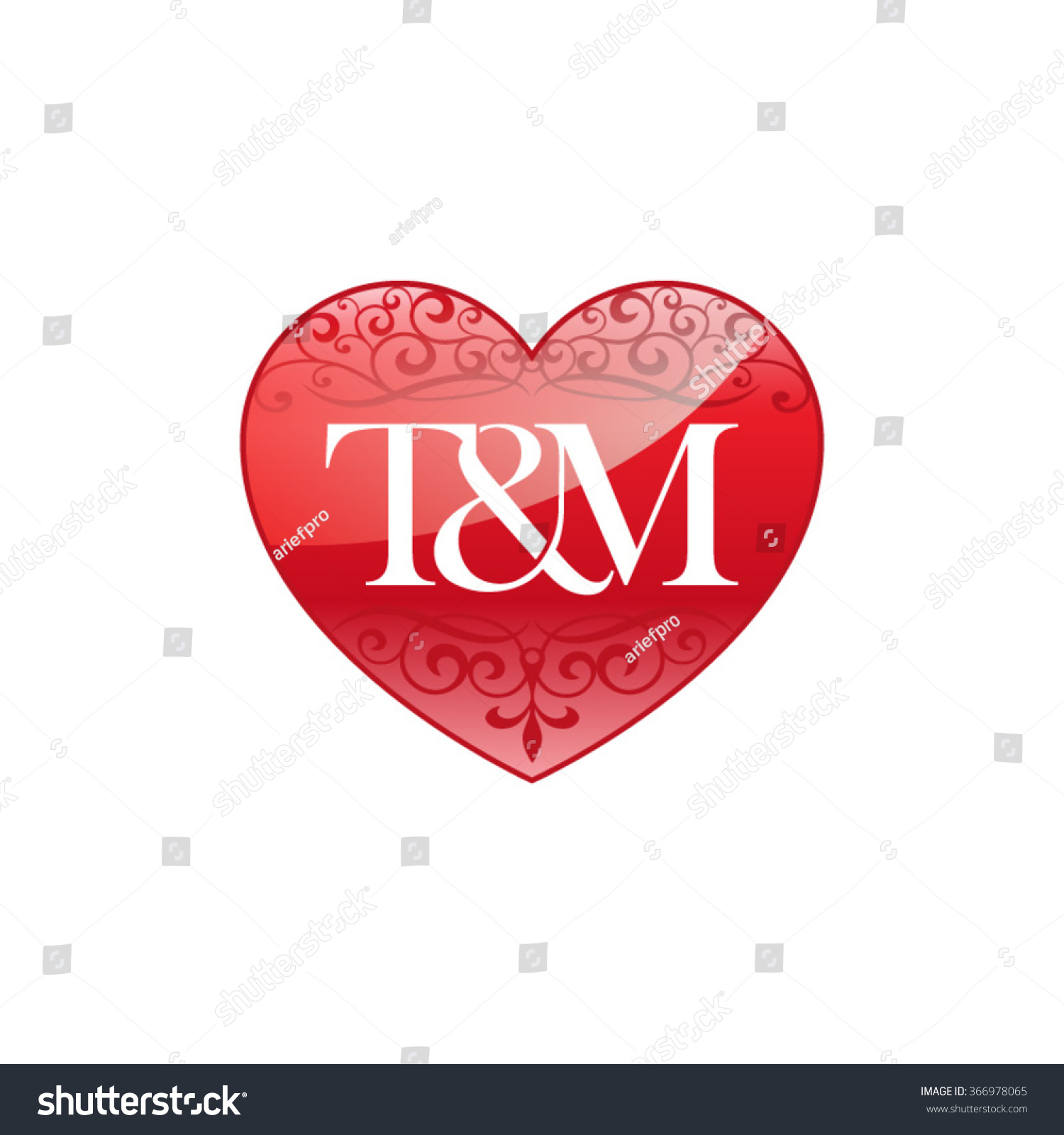 TM Initial Letter Logo With Ornament Heart Shape 366978065