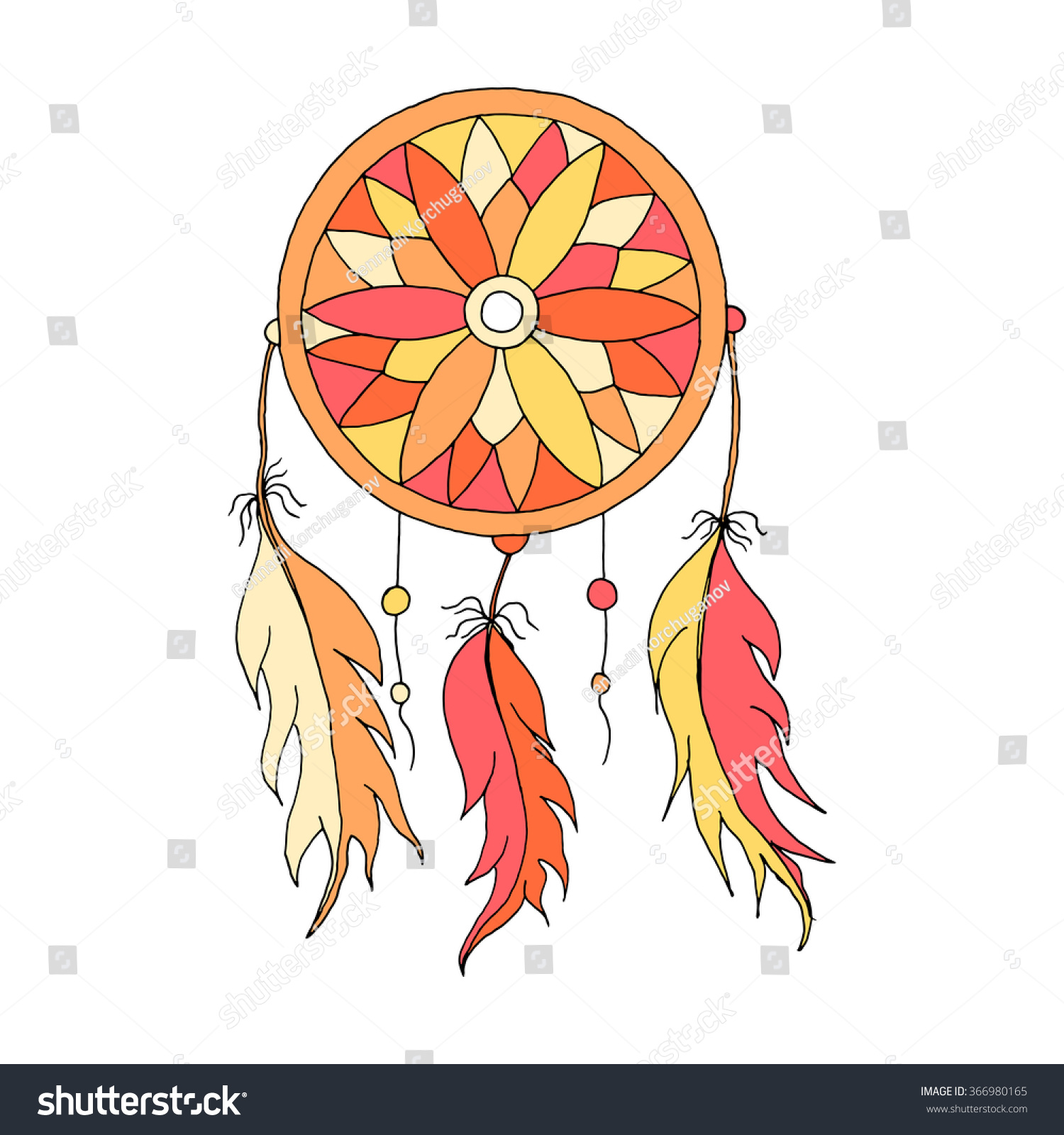 Color art dreamcatcher - Dreamcatcher Color Hand To Draw With Beads And Feathers Of Birds
