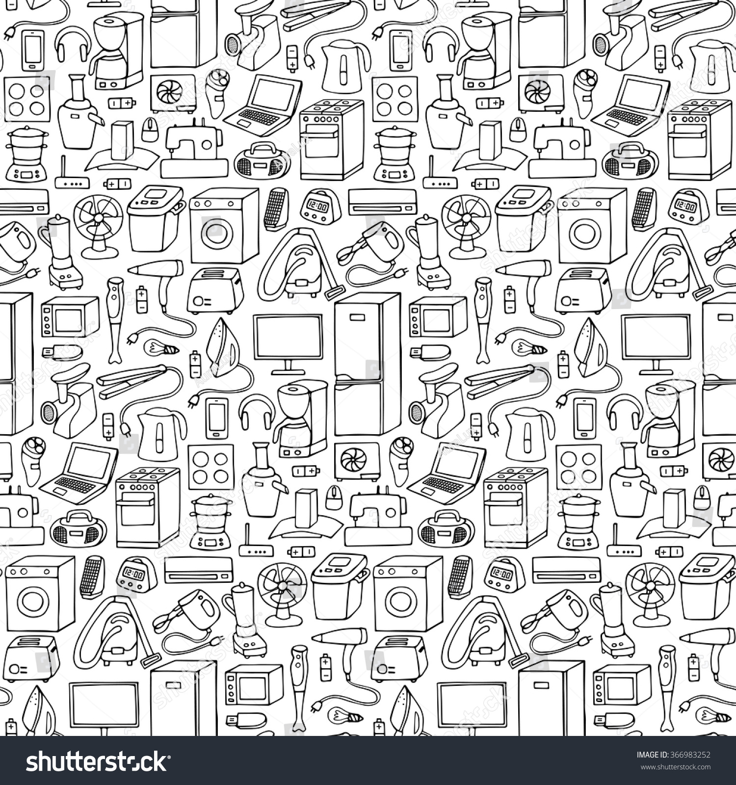 Household appliances hand drawn seamless pattern. Vector illustration of doodle seamless household appliances element