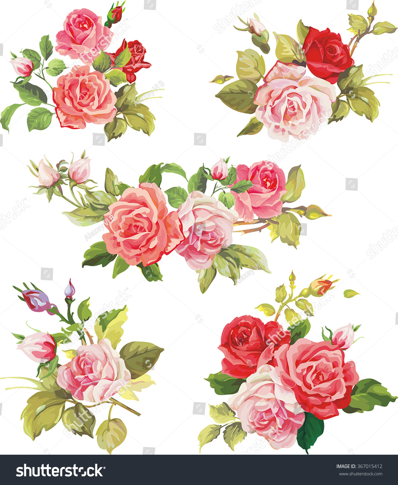 Beautiful isolated flowers on white background stock vector royalty beautiful isolated flowers on the white background set of different beautiful floral design elements izmirmasajfo