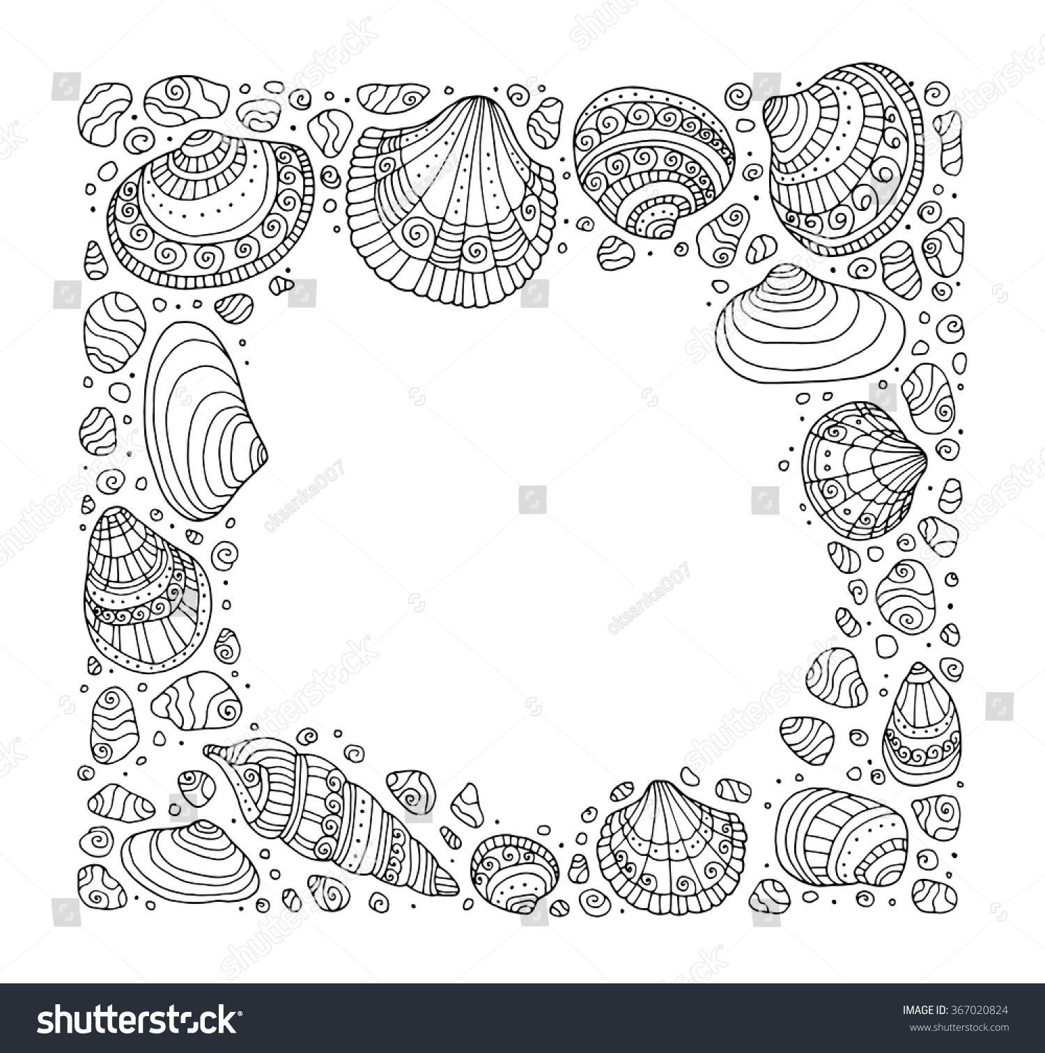 Zen ocean colouring book - Seashell Border Frame Ocean Pattern Vector Vintage Illustration Zentangle Coloring Book Page