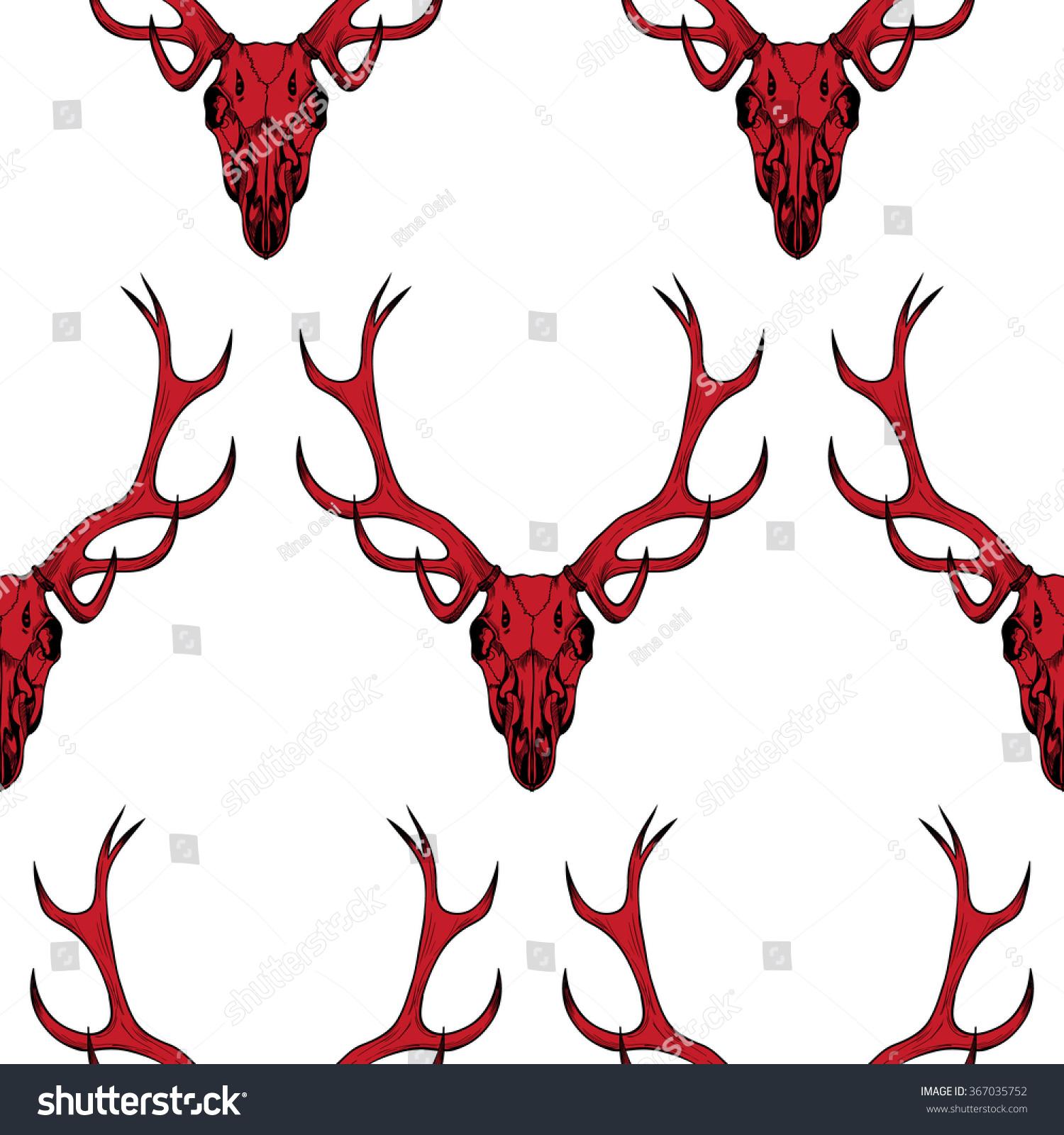 Red Deer Skull On White Background Stock Vector 367035752 - Shutterstock