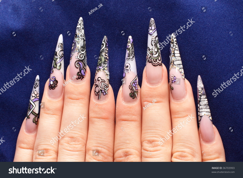 Acrylic Nails On Ten Fingers Stock Photo (Royalty Free) 36703993 ...