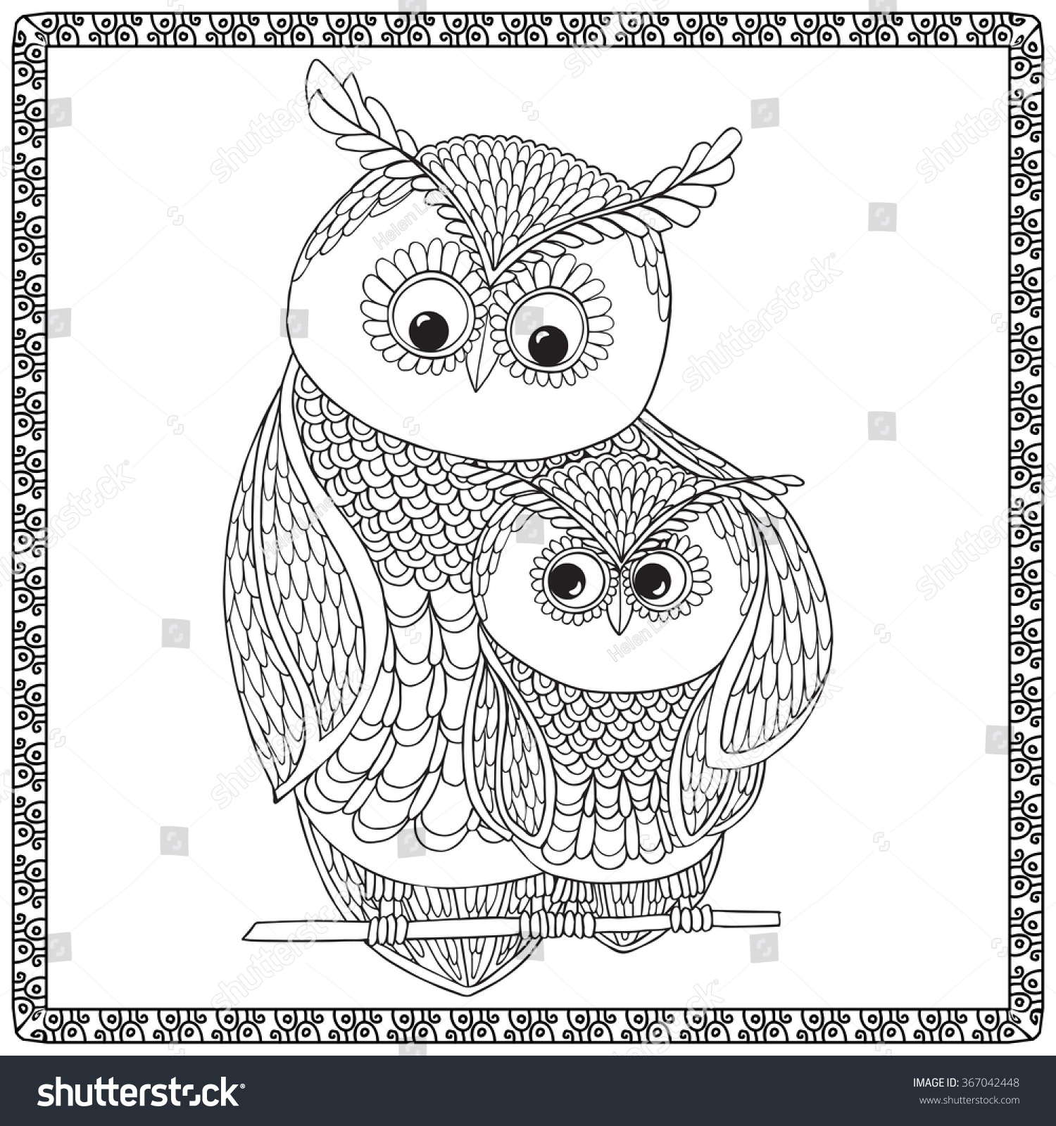 Coloring Book For Adult And Older Children Page With Cute Ow Mom Chick