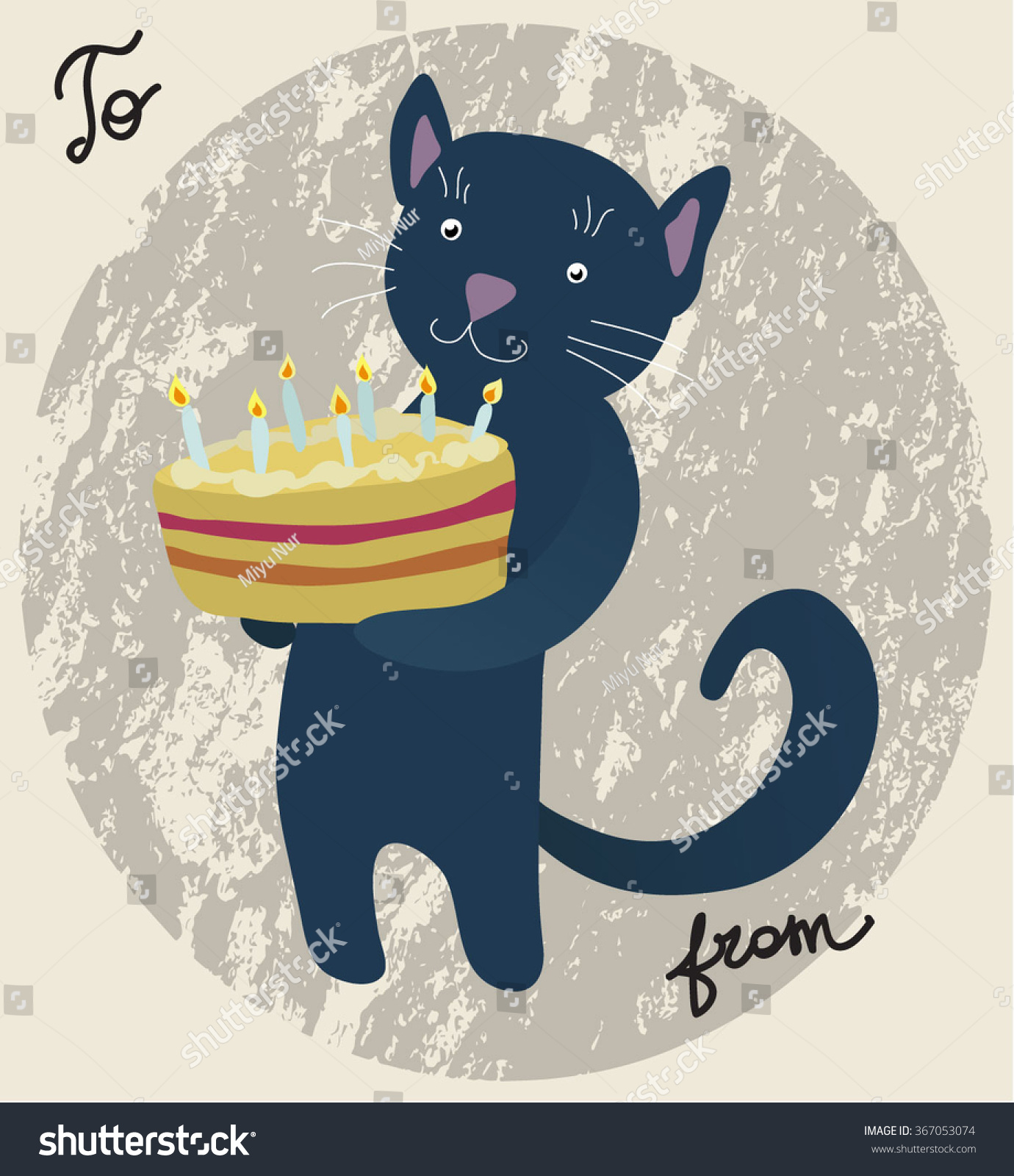 Card Black Cat Holding Birthday Cake Stock Vector Royalty Free