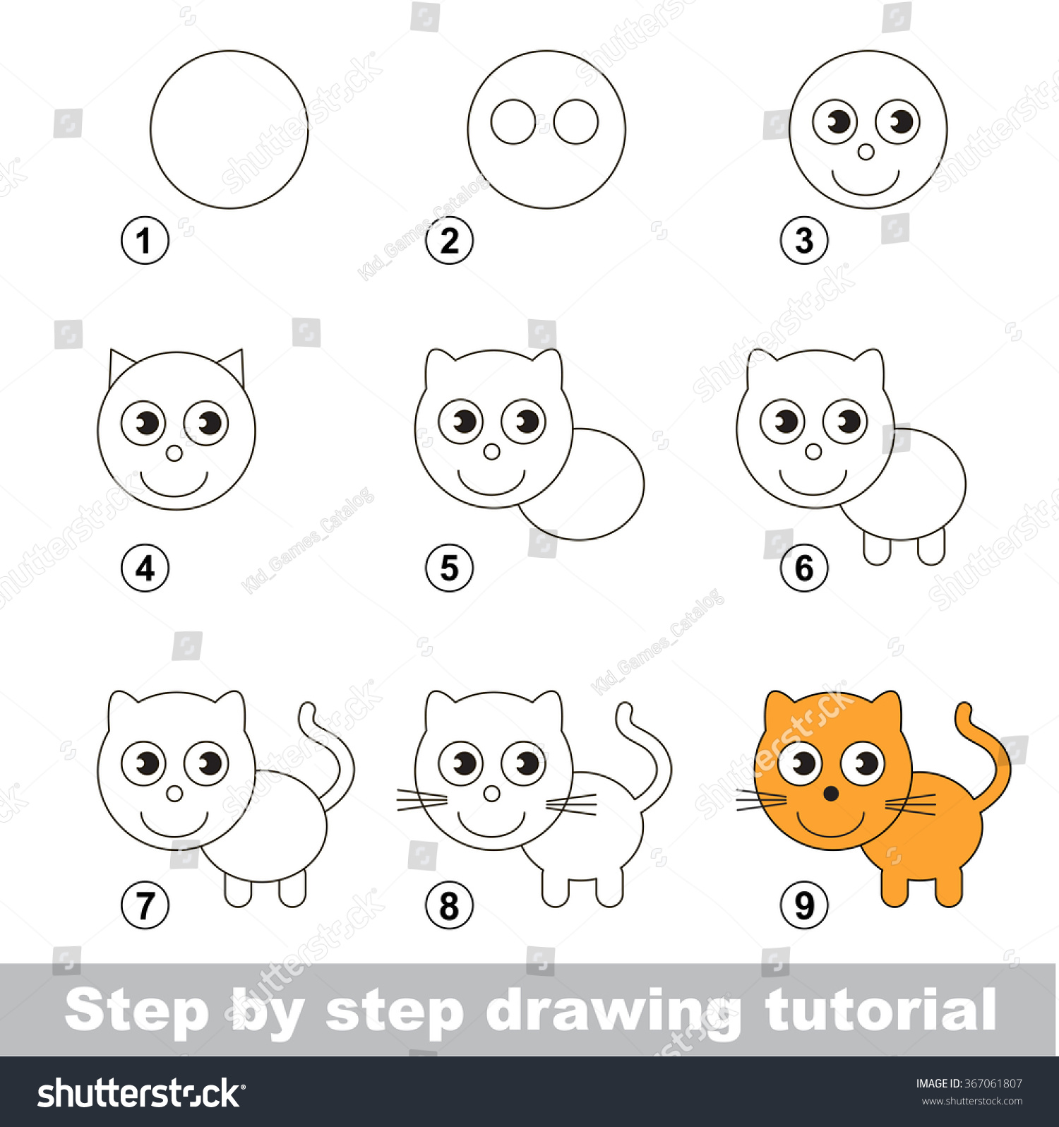 Step By Step Drawing Tutorial Visual Game For Kids How To Draw A Small