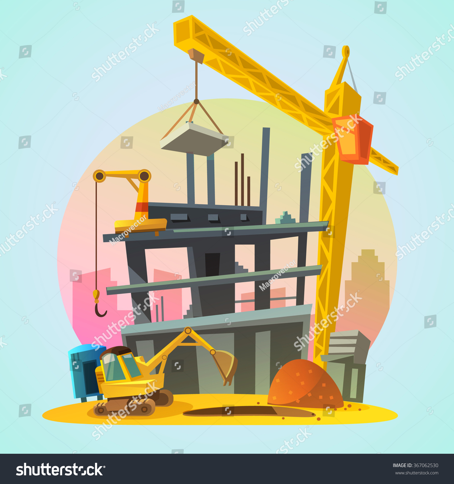 House construction process cartoon building machinery for Process of building a house