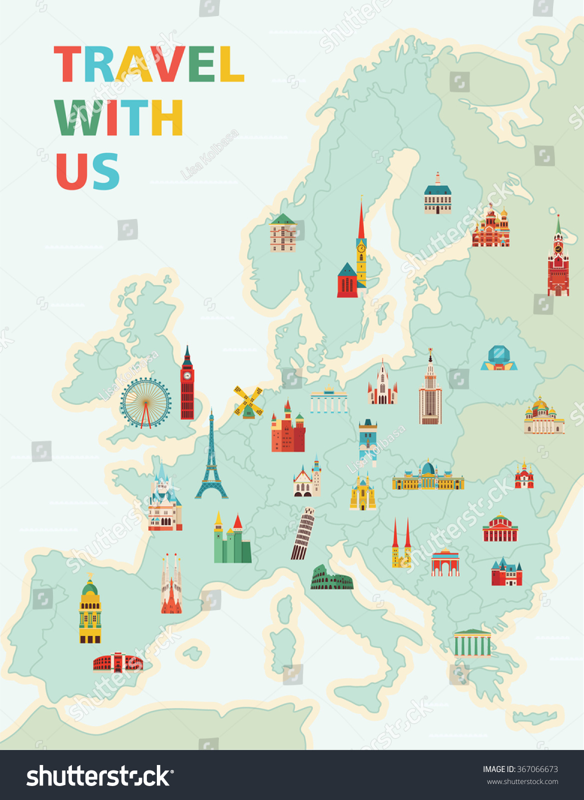Europe Map Famous Monuments Travel Tourism Stock Vector - Travel europe from us map