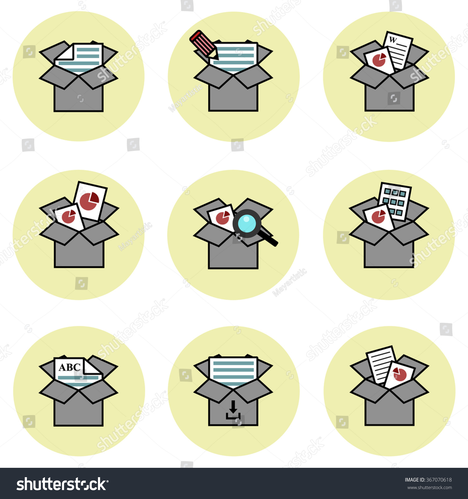 Dropbox Opportunities Vector Icon Set Stock Vector Royalty Free