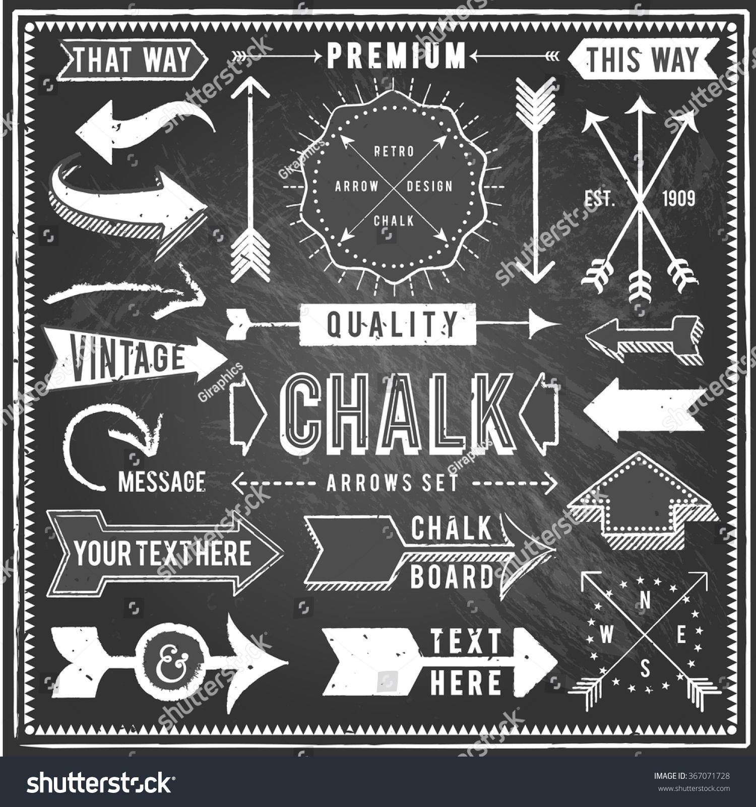 Vintage Chalkboard Arrows - Set of vintage arrows and banners. Each object is grouped and file is layered for easy editing. Textures can be removed. #367071728