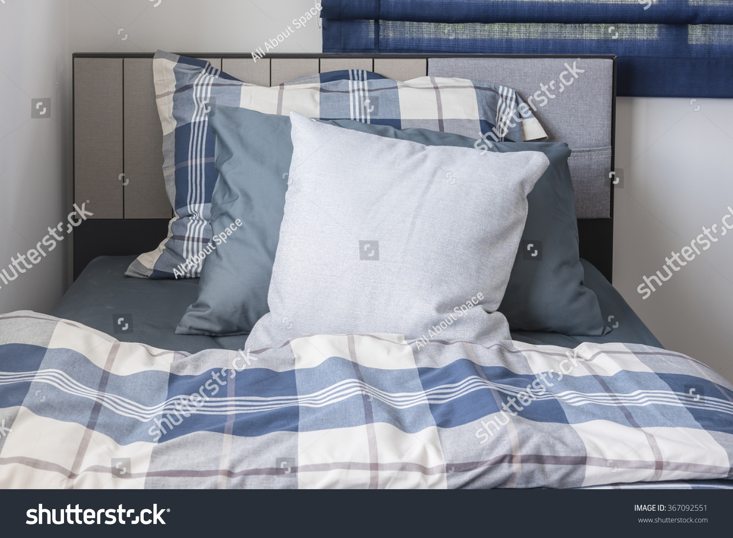 Modern Family Pillows On Bed : Pillows On Modern Bed Blue Color Stock Photo 367092551 - Shutterstock