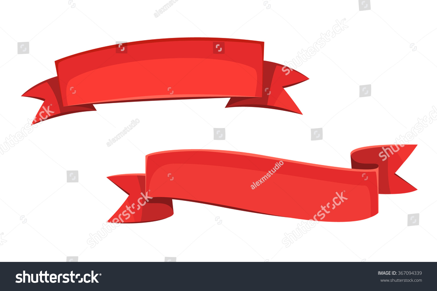 Set Two Red Cartoon Banners Cartoon Stock Vector 367094339 ...