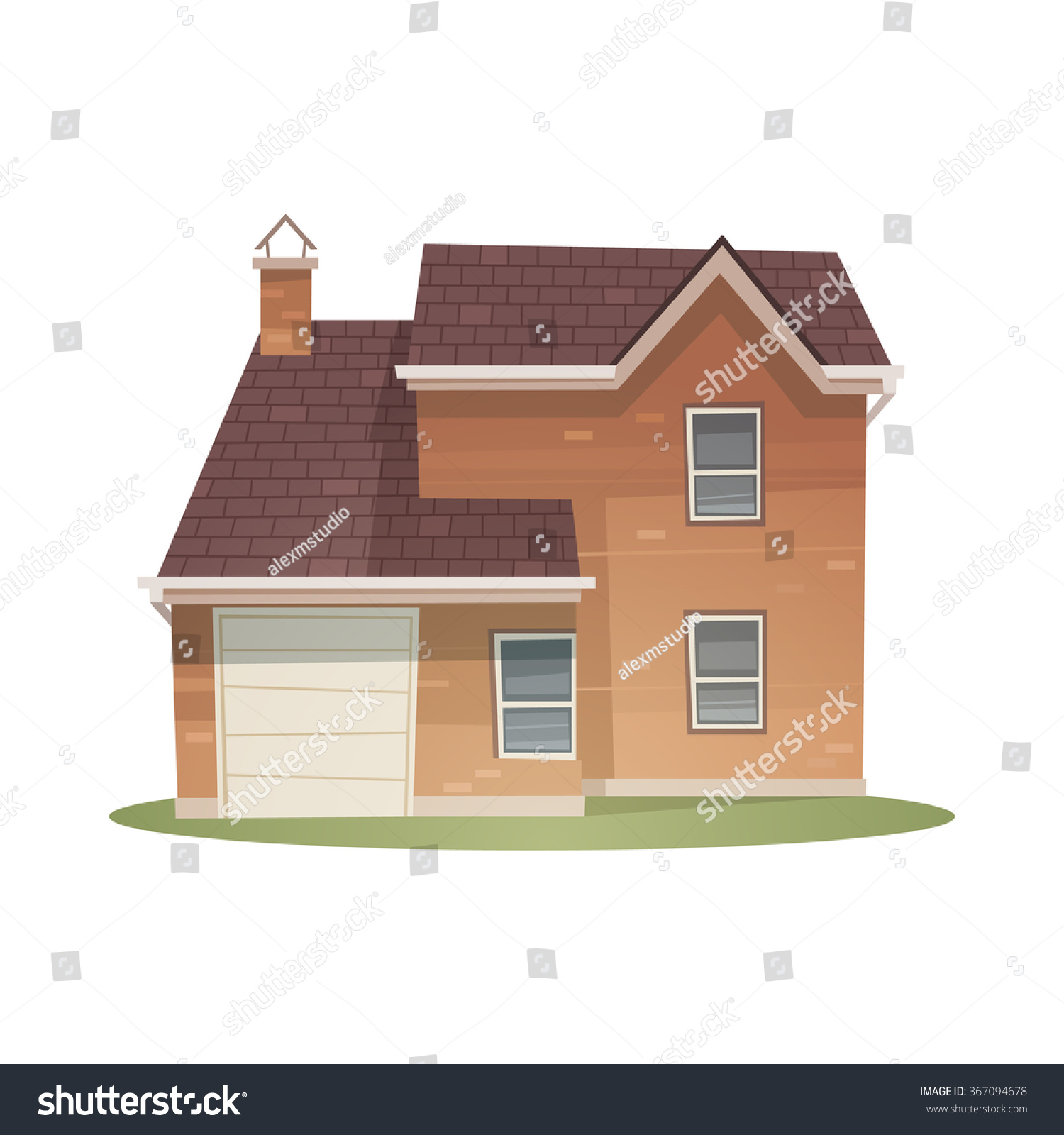Front view family house cartoon vector stock vector for Exterior view of house