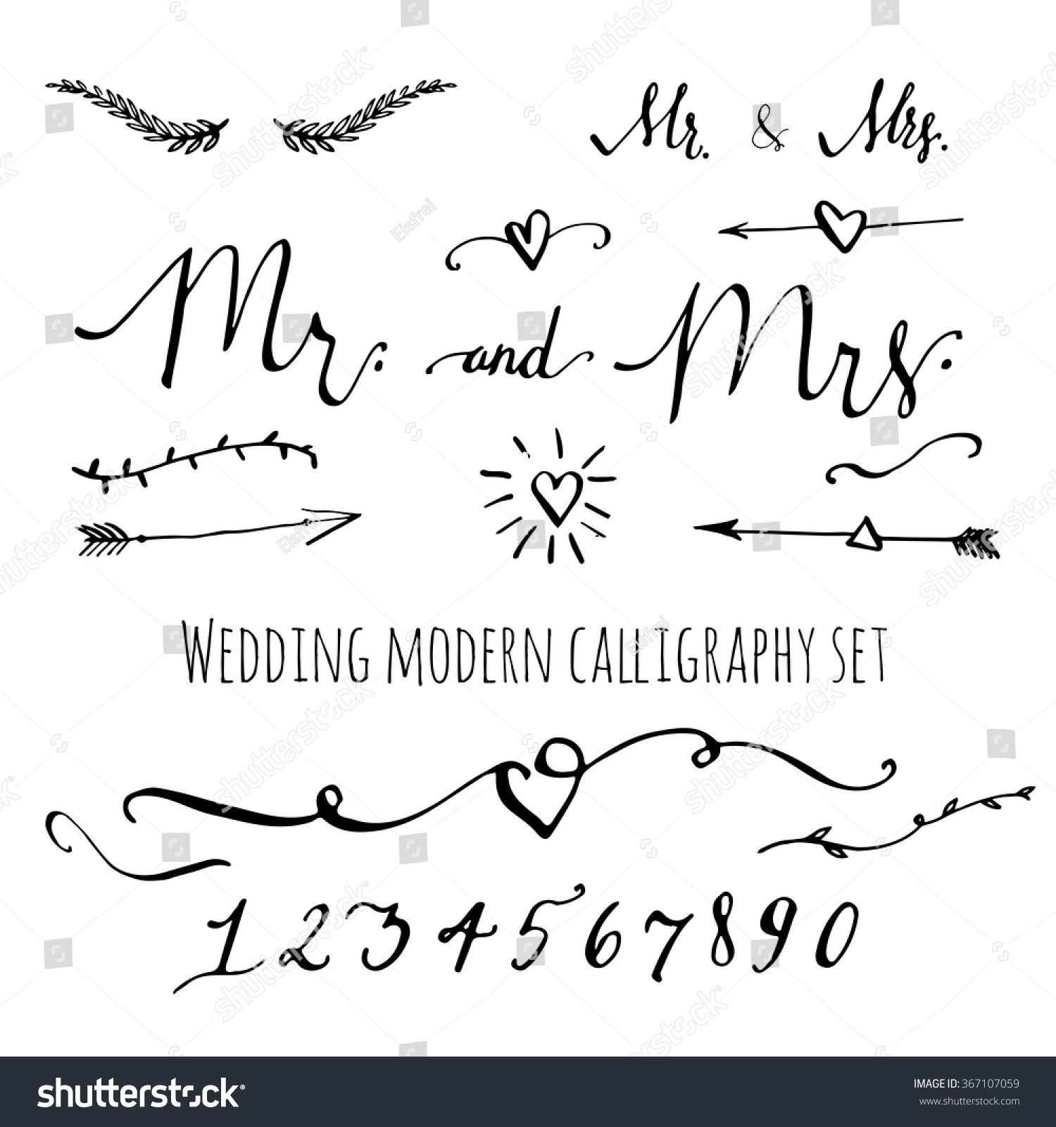 Wedding modern calligraphy decorative elements set stock