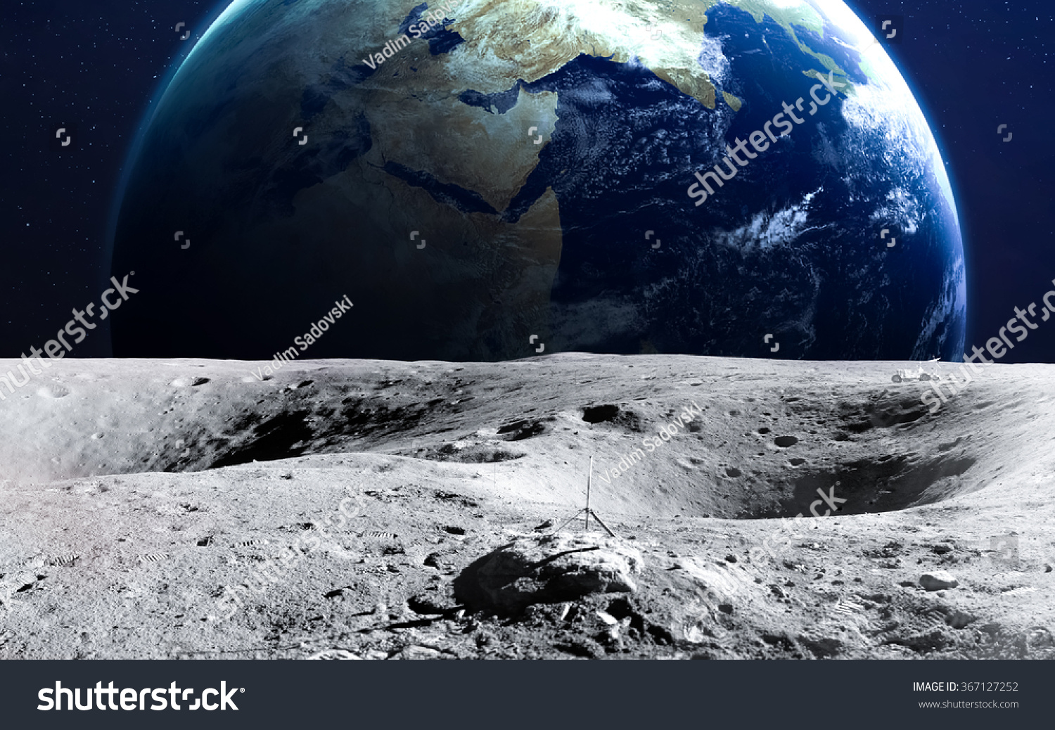 The Earth From Moon Surface. This Image Elements Furnished ...
