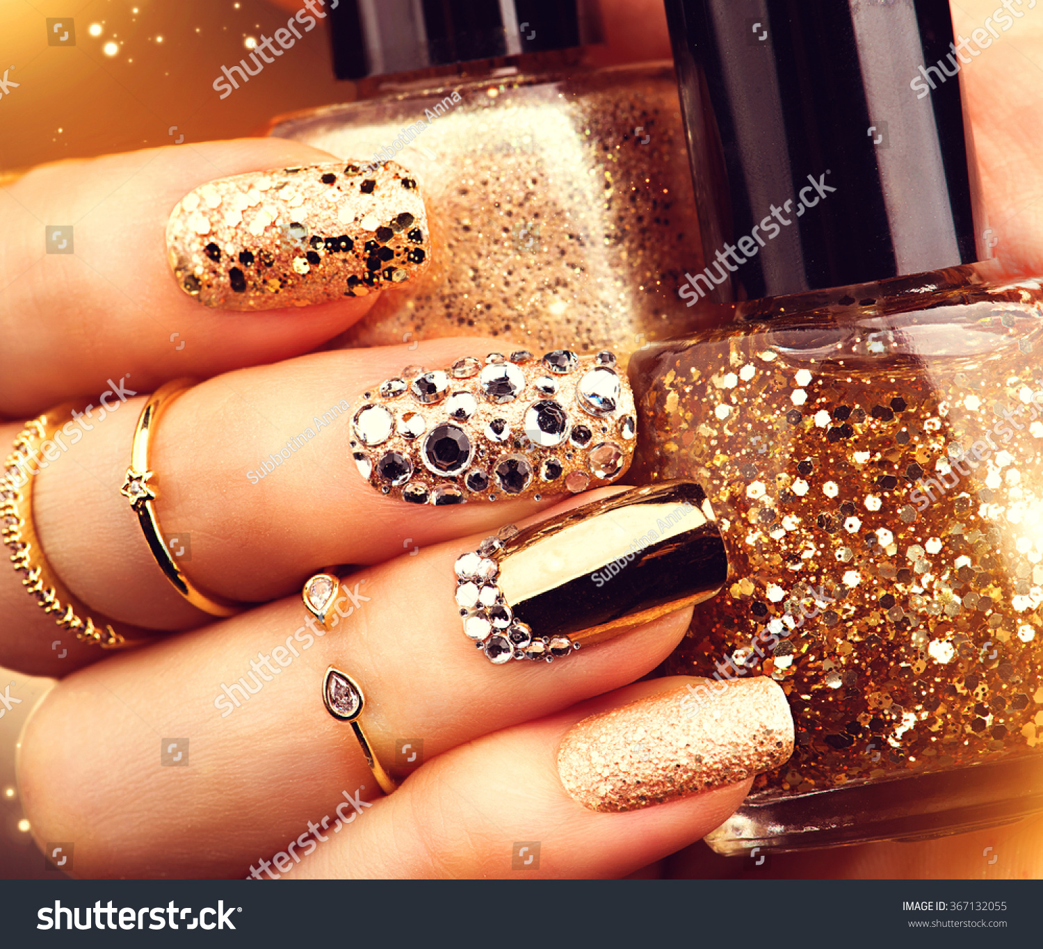 Golden Nail Art Manicure Holiday Style Stock Photo (Royalty Free ...