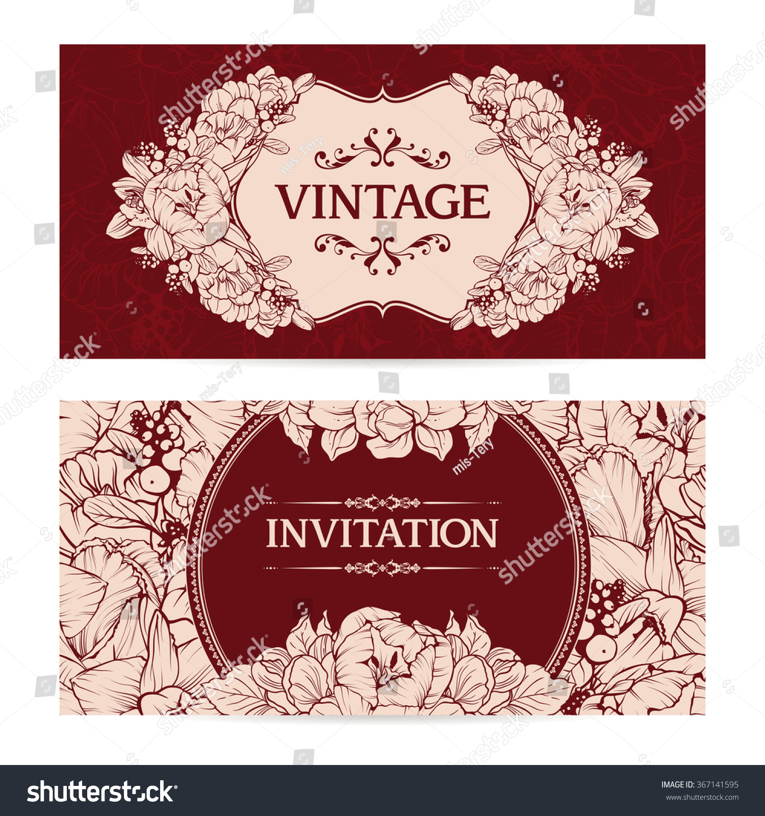 Vector Set Vintage Templates Seamless Floral Stock Photo (Photo ...