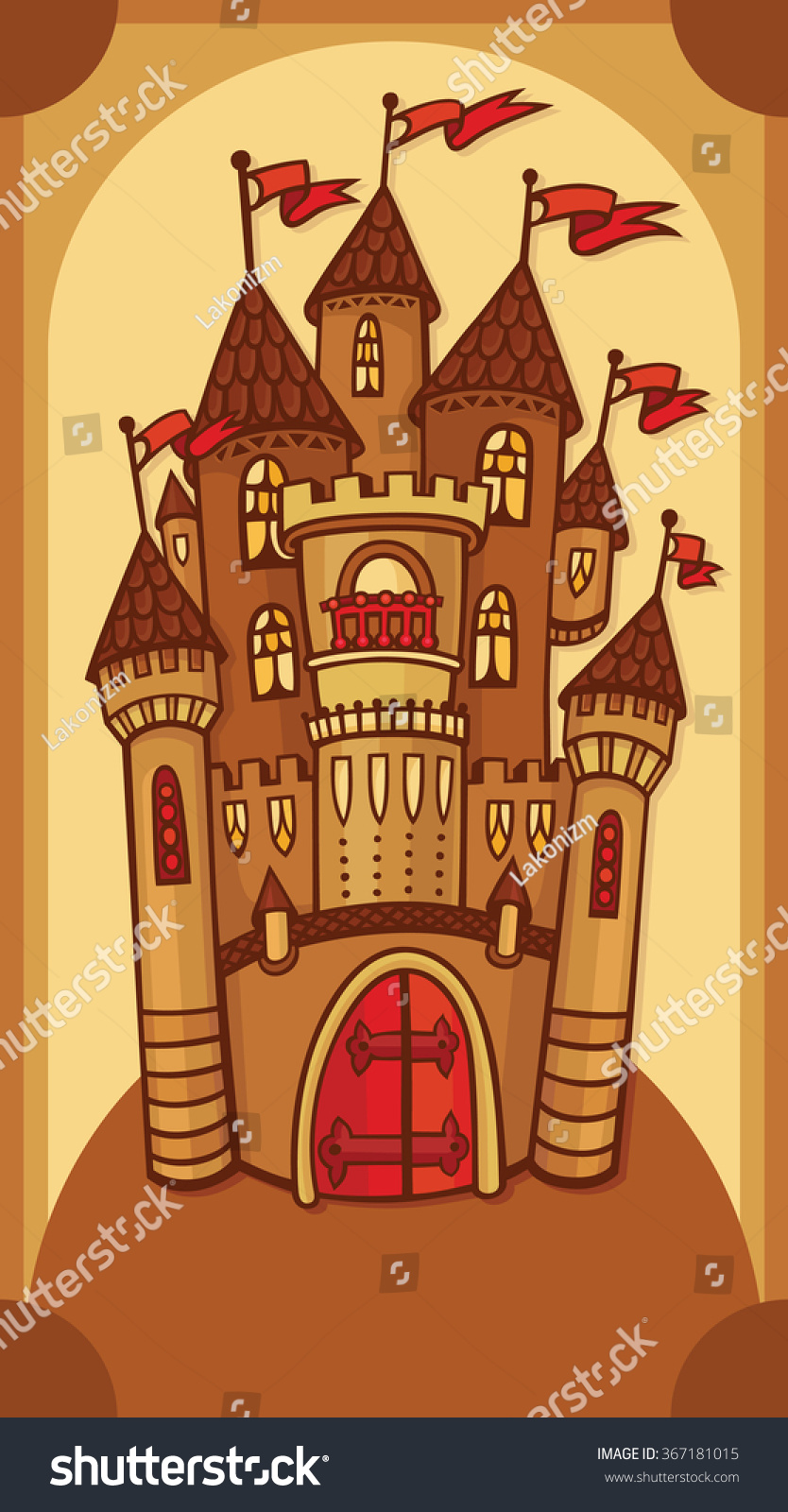 brown castle illustration vector lovely card stock vector