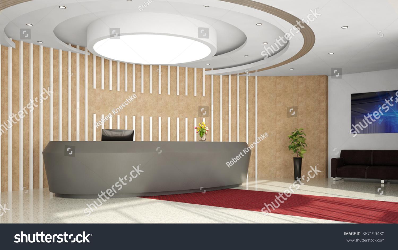 modern reception desk in elegant hotel lobby 3d rendering