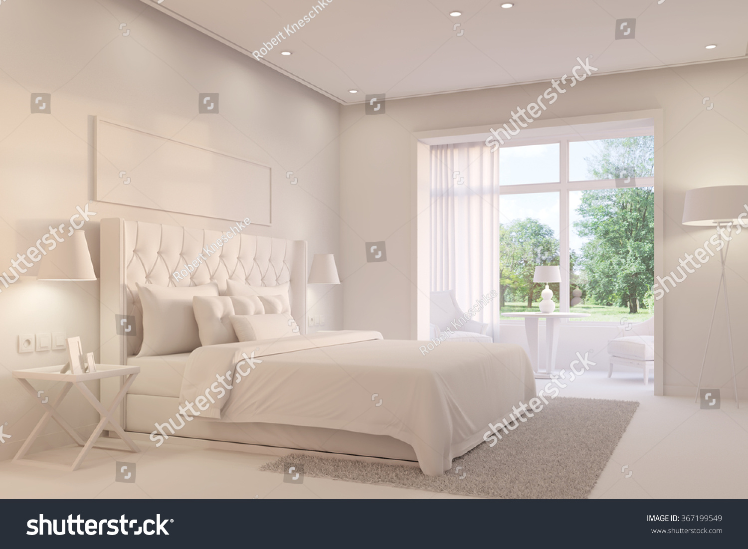 Bright white bedroom with king size bed on a day  3D Rendering. Bright White Bedroom King Size Bed Stock Illustration 367199549