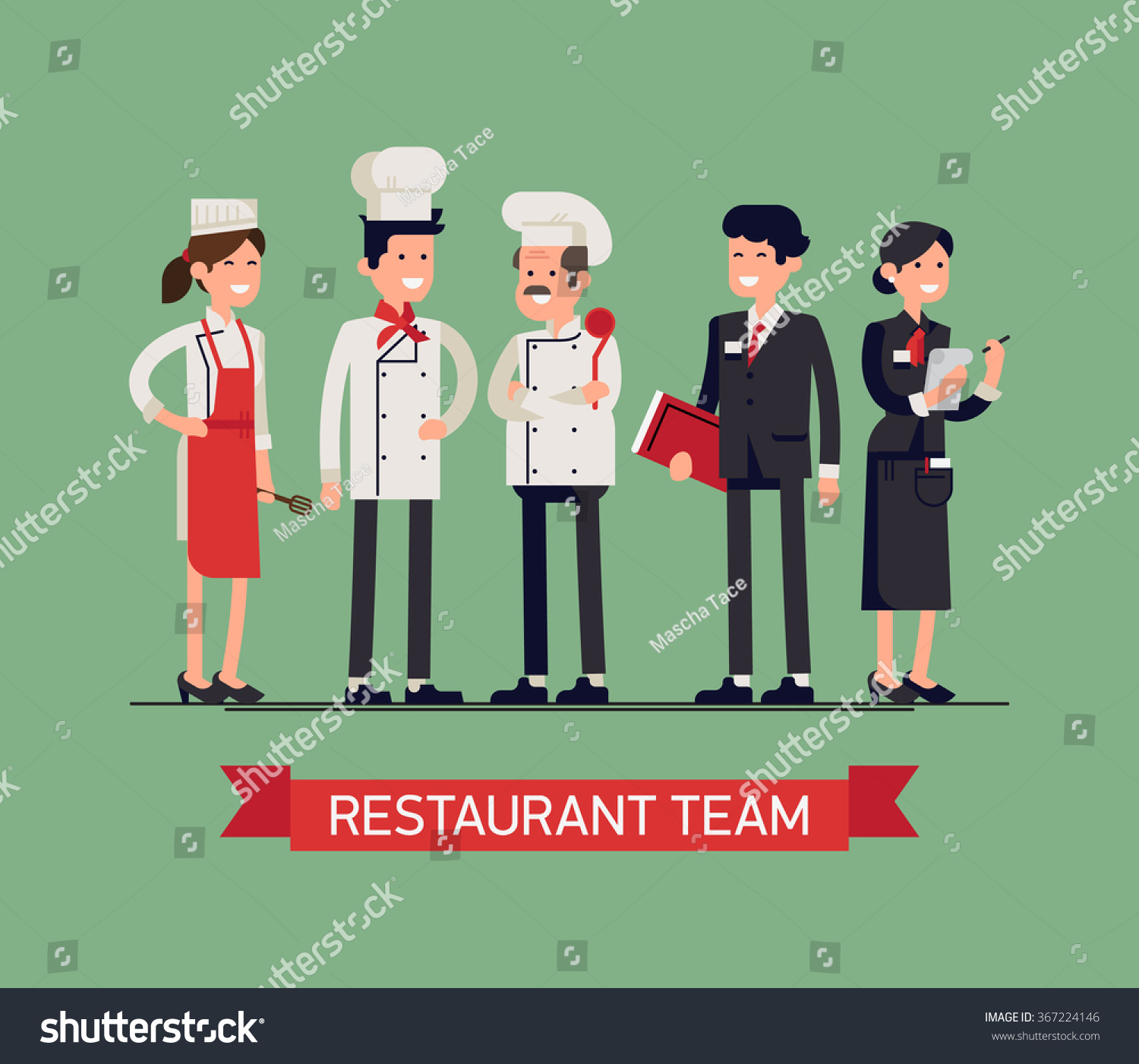 Lovely lineup group restaurant staff characters stock