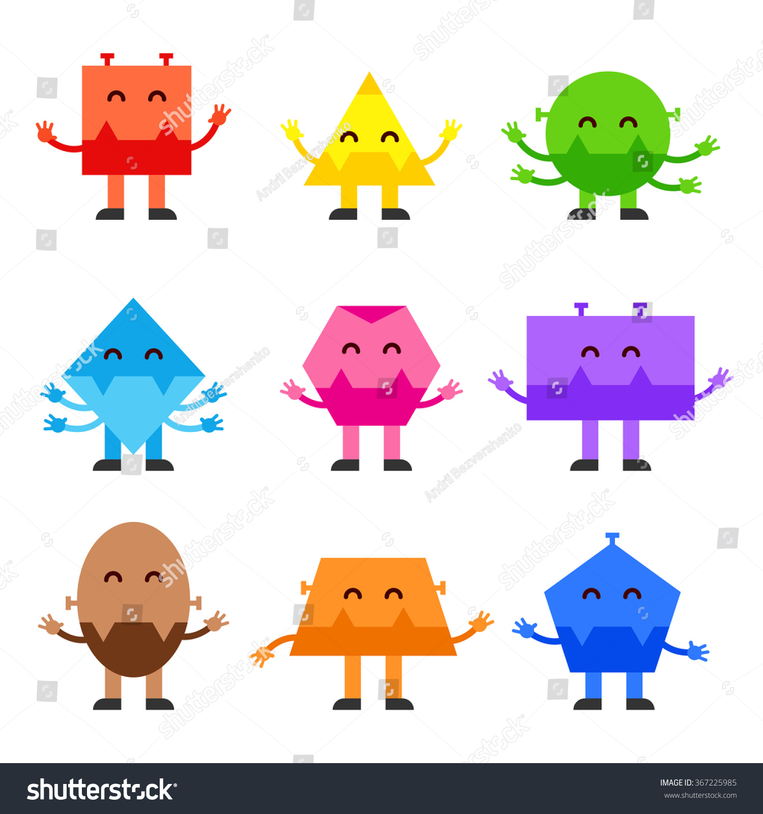 Character Design With Basic Shapes : Geometric shapes funny monsters cartoon vector character
