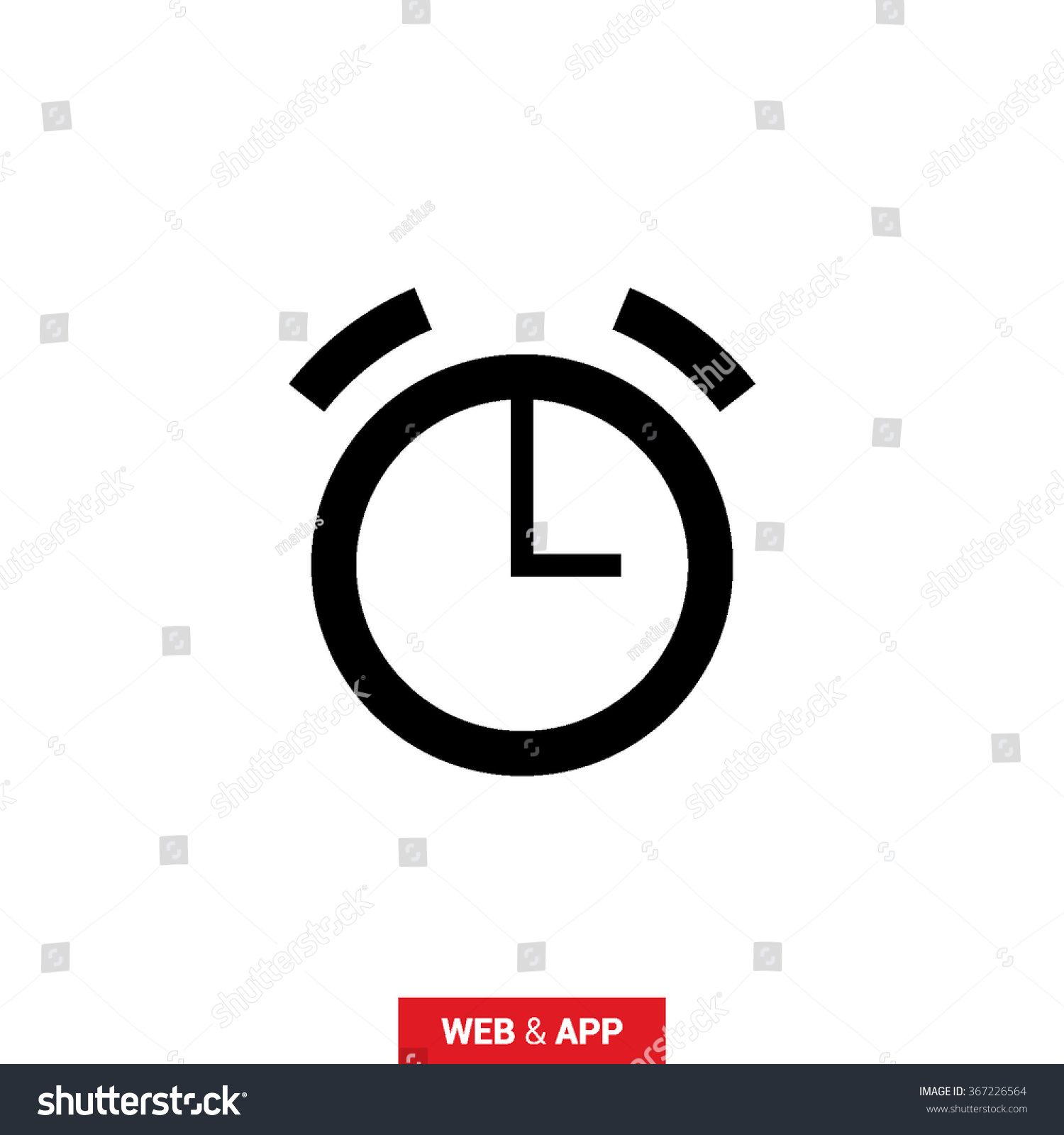 Alarm Isolated Minimal Single Flat Icon Stock Vector