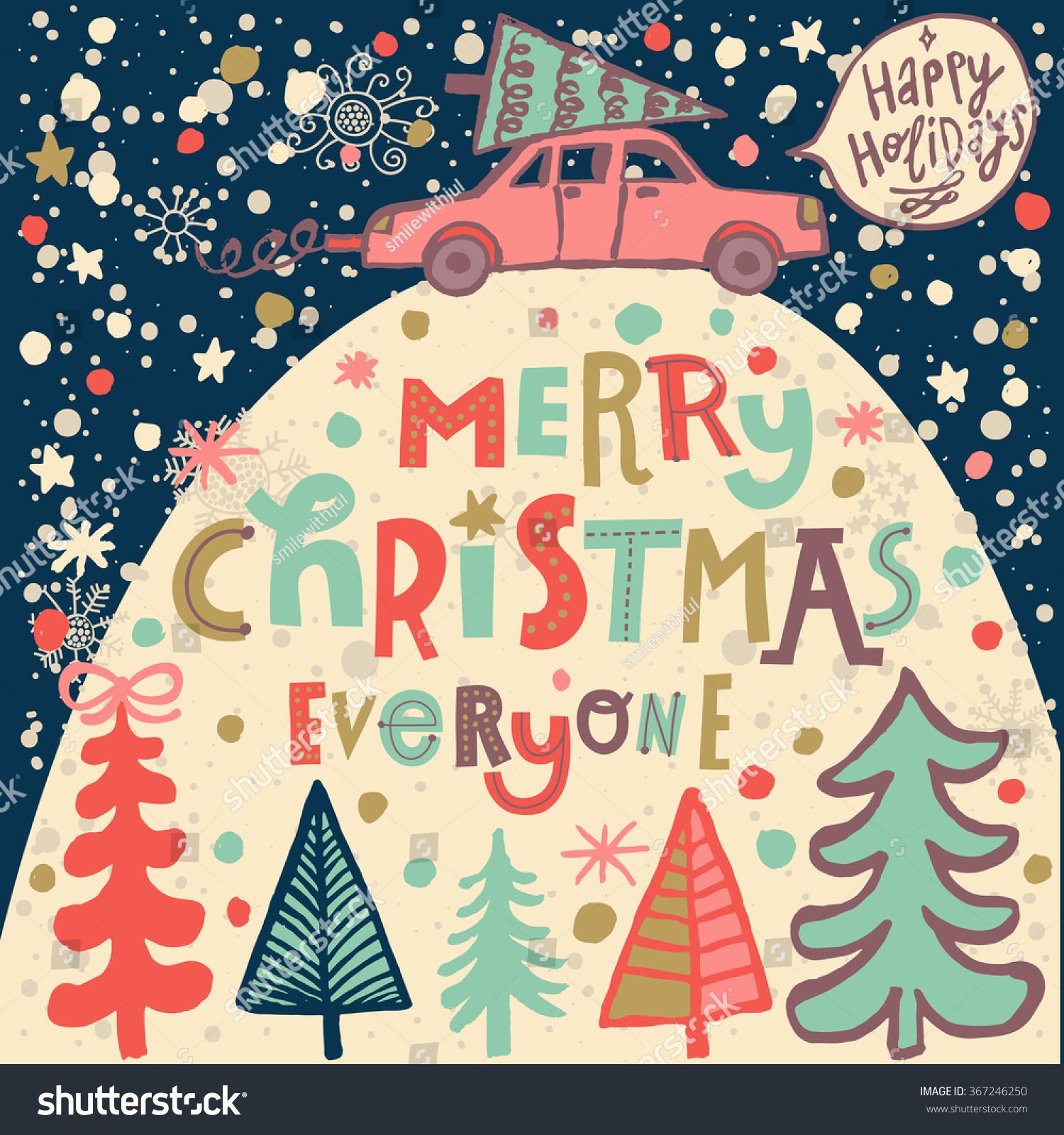 Merry Christmas Everyone Concept Card Bright Stock Vector (Royalty ...