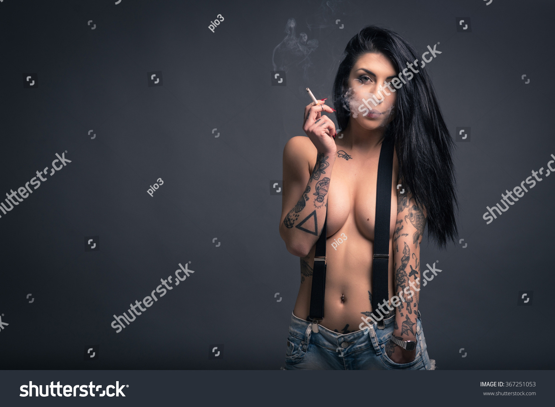 Close Portrait Beautiful Woman Tattoo Smoking Stock Photo (Edit Now ... 7e32aeae2