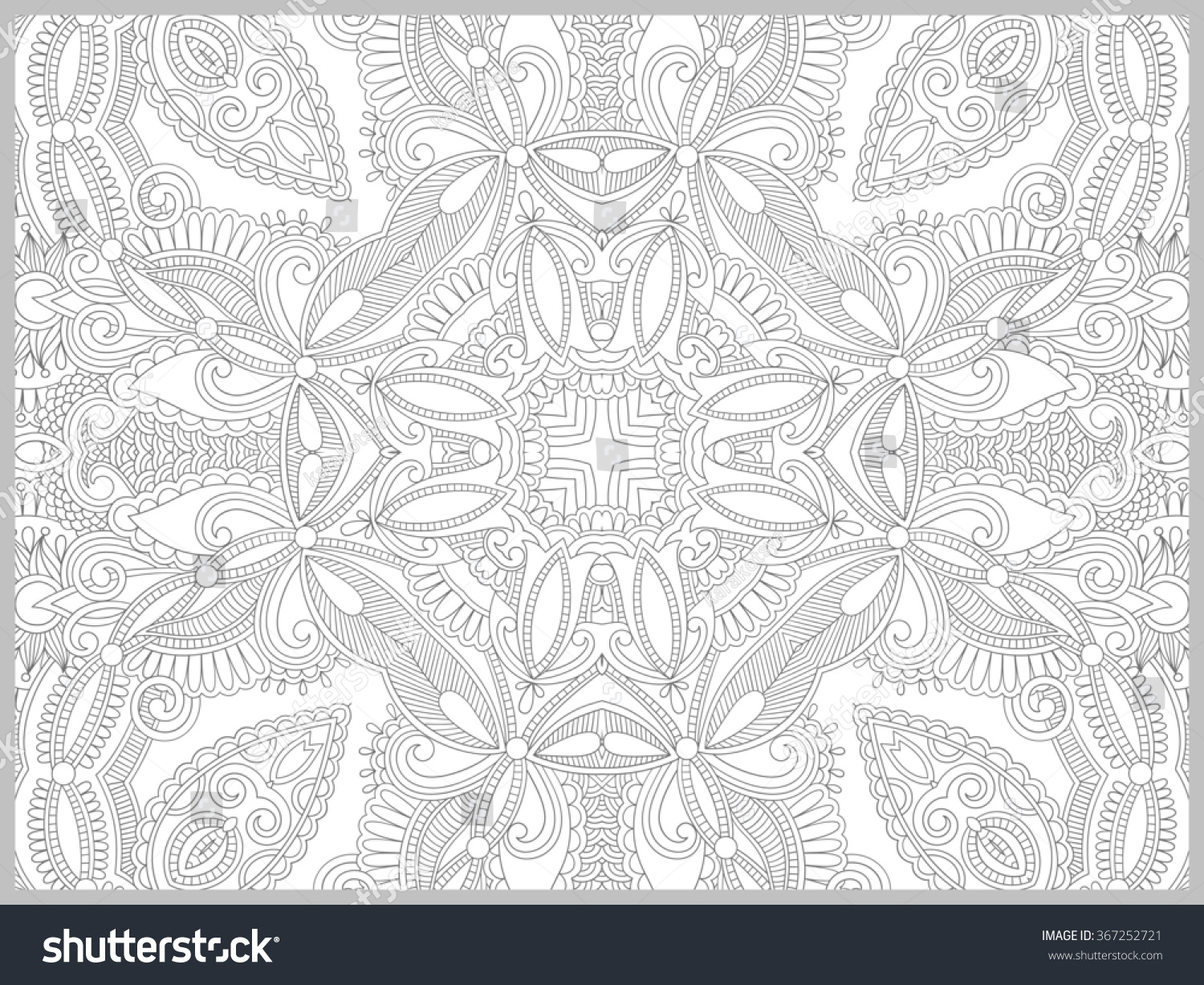 Unique coloring book page adults flower stock illustration for Unique coloring pages for adults